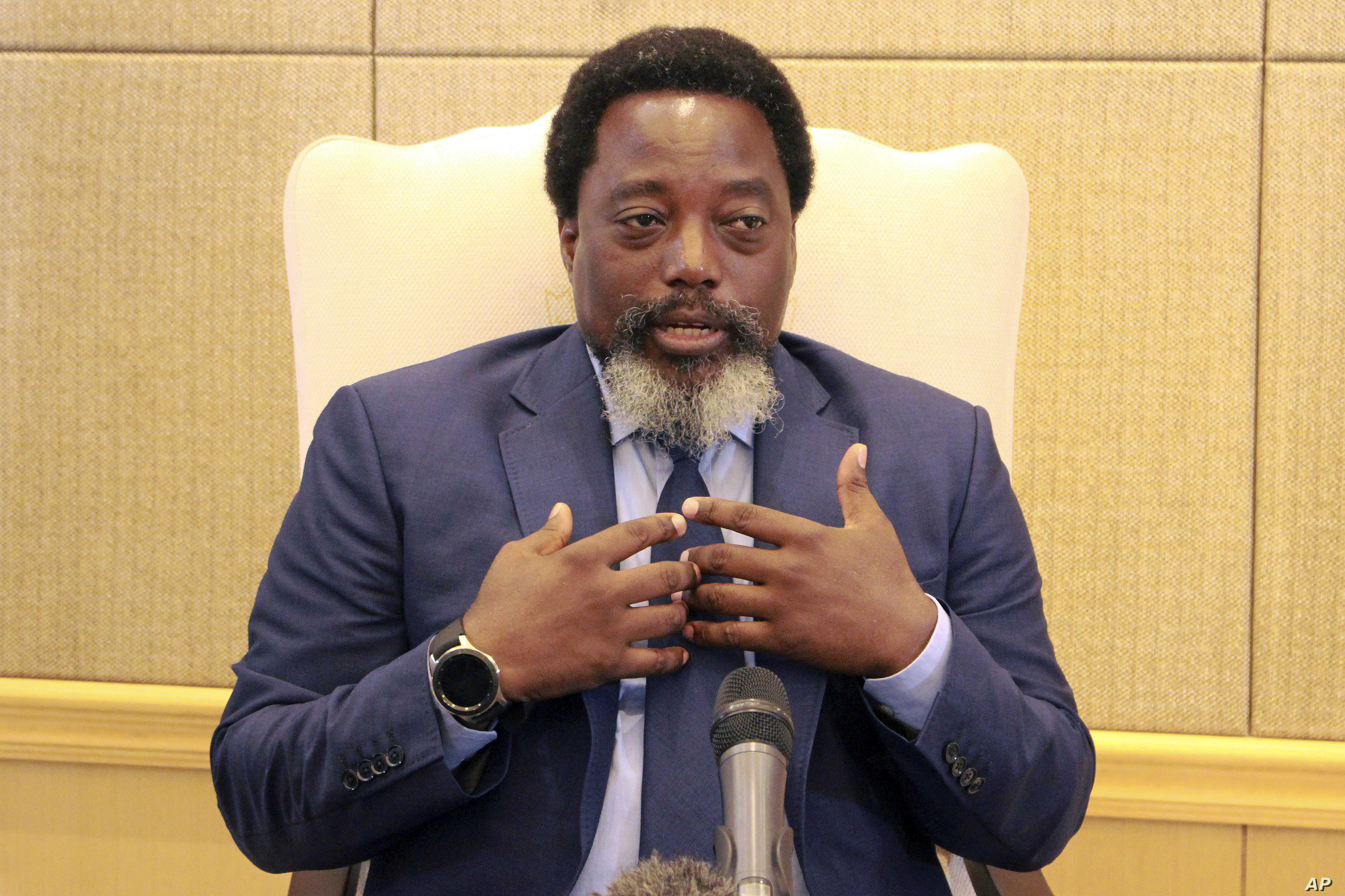 Democratic Republic of Congo's President Joseph Kabila speaks during an interview by the Associated Press at the Nation's Palace in Kinshasa, Dec. 9, 2018.