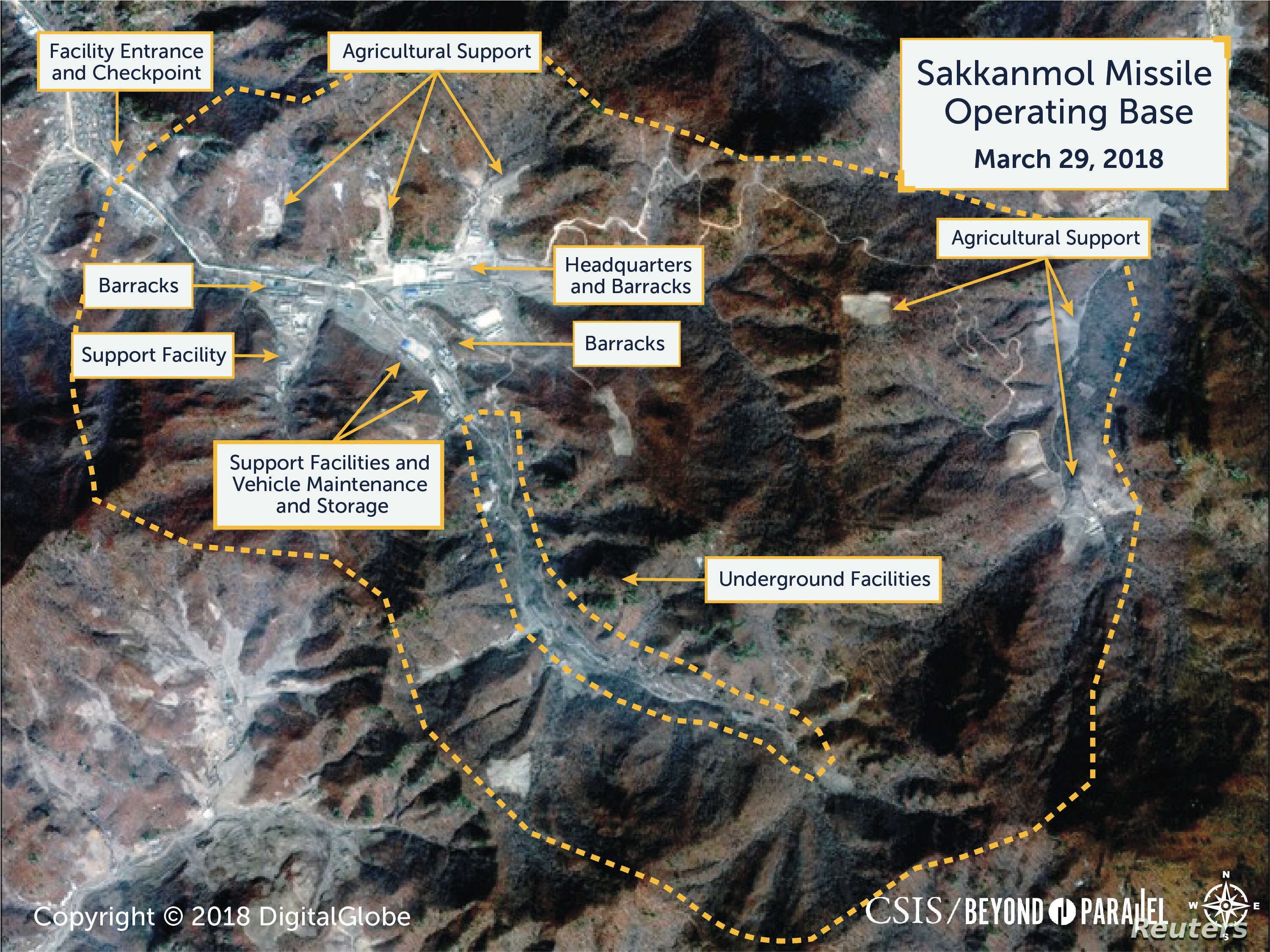 A Digital Globe satellite image taken March 29, 2018 shows what CSIS' Beyond Parallel project reports is an undeclared missile operating base at Sakkanmol, North Korea and provided to Reuters on Nov. 12, 2018.