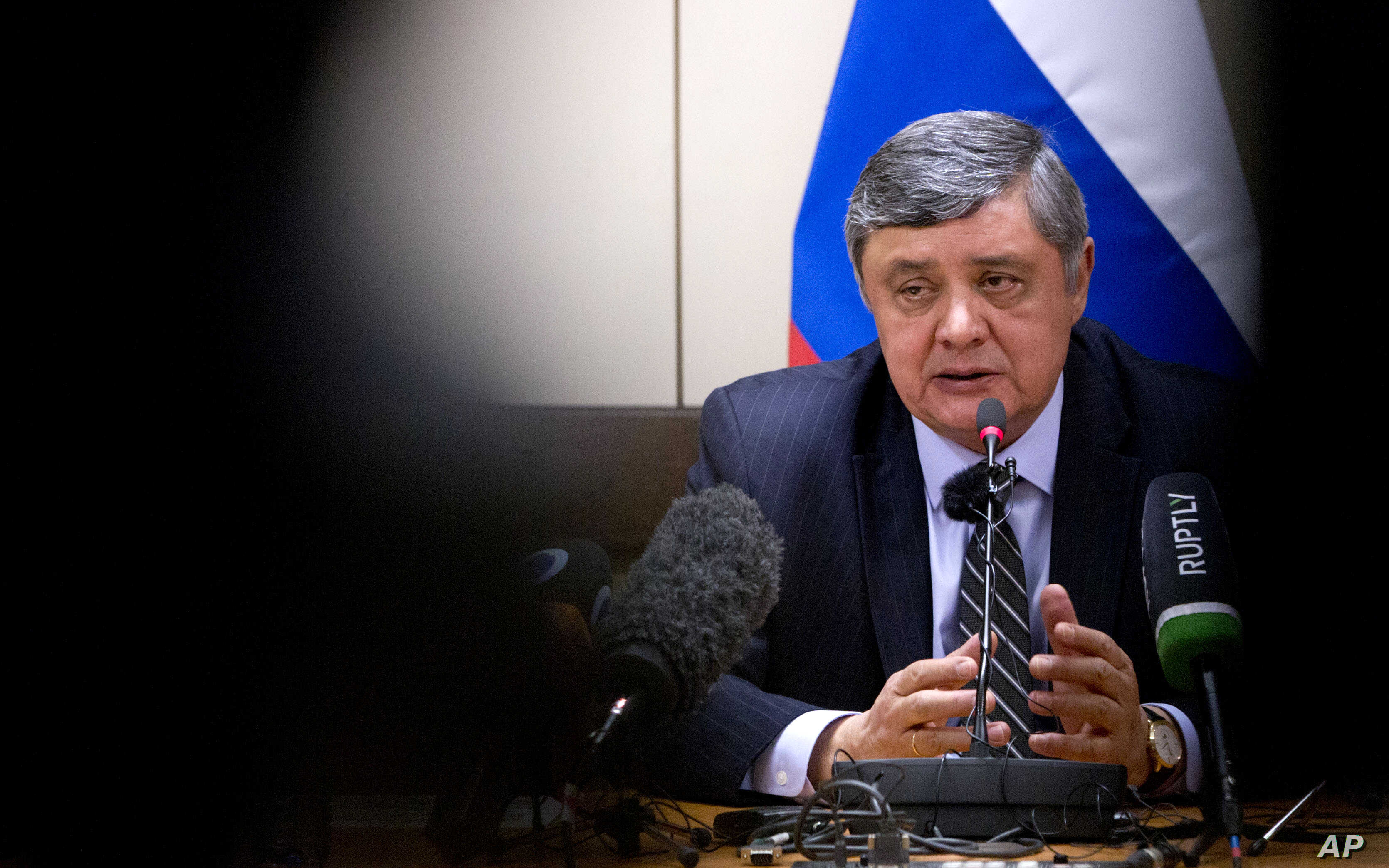 Russian President Vladimir Putin's special envoy for Afghanistan Zamir Kabulov speaks during a press conference in Brussels, Belgium, Oct. 26, 2017.