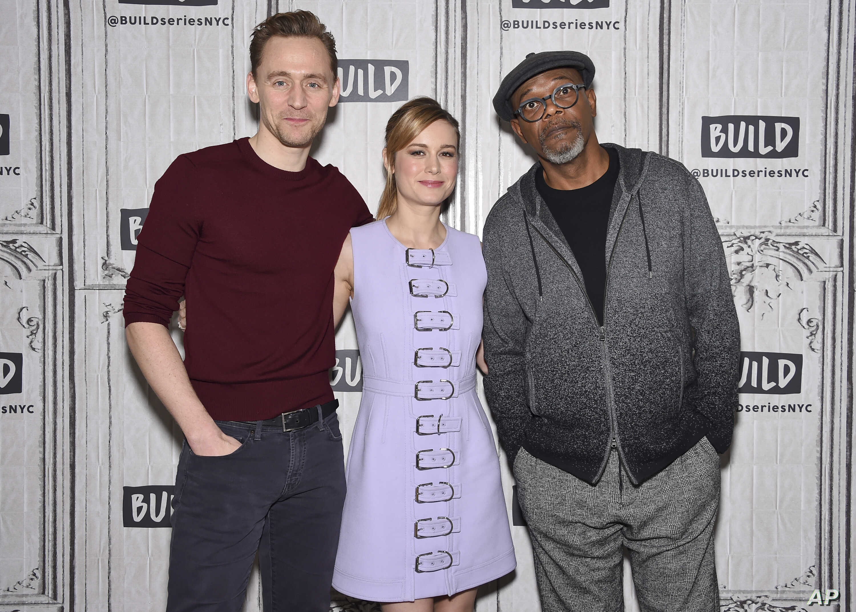 """Actors Tom Hiddleston, left, Brie Larson and Samuel L. Jackson participate in the BUILD Speaker Series to discuss the film """"Kong: Skull Island"""" at AOL Studios, March 6, 2017, in New York."""