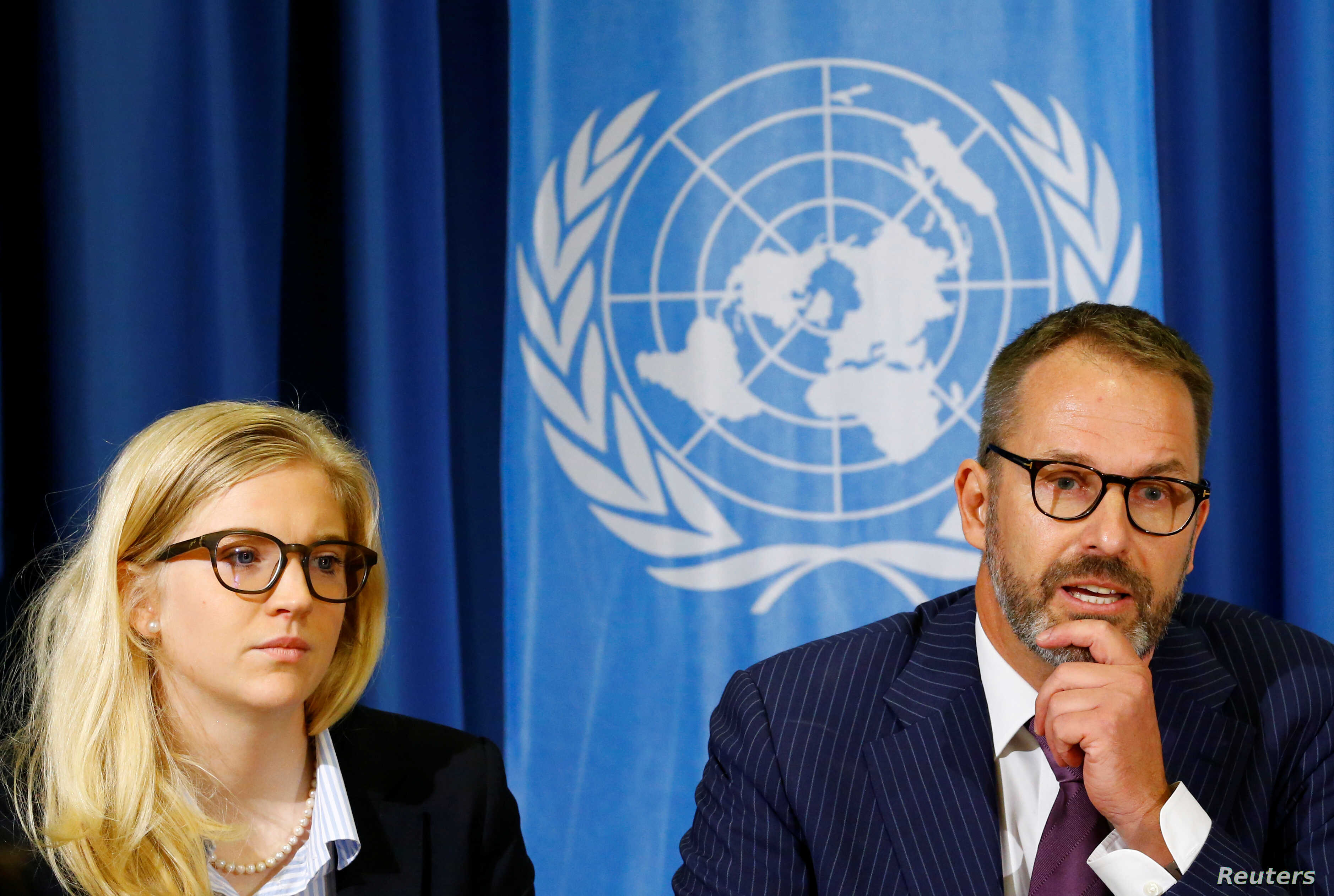 (L-R) Karin Friedrich and Thomas Hunecke attend a news conference on the Mission Report of the Office of the High Commissioner for Human Rights (OHCHR) rapid response mission to Cox's Bazaar, Bangladesh, for the Rohingya crisis in Myanmar, at the Uni...