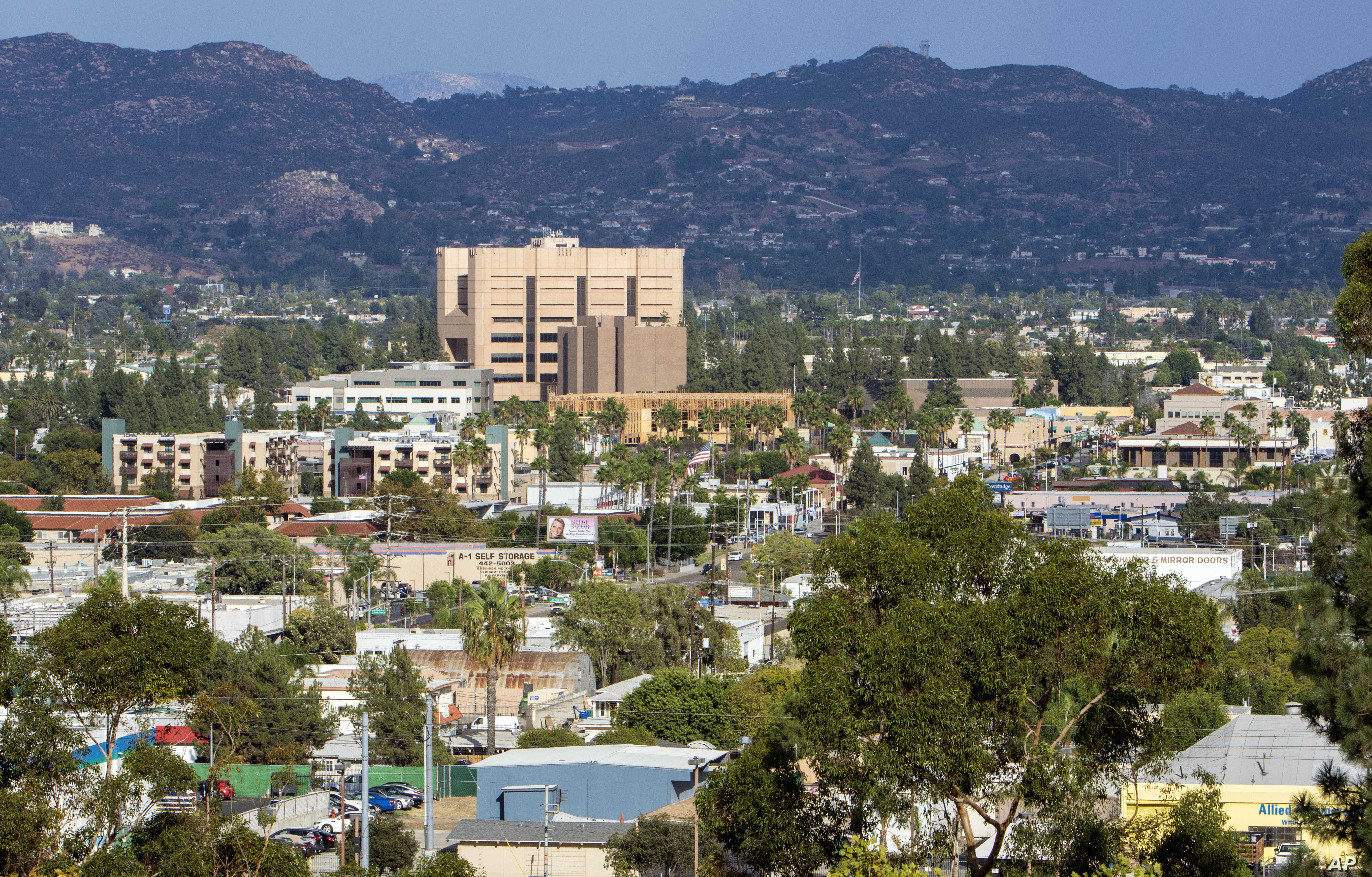 FILE - The city of El Cajon, Calif., a community east of San Diego, Sept. 29, 2016. On Sept. 27, 2016, an El Cajon police officer shot and killed Alfred Olango, a Ugandan refugee who lived in the city.