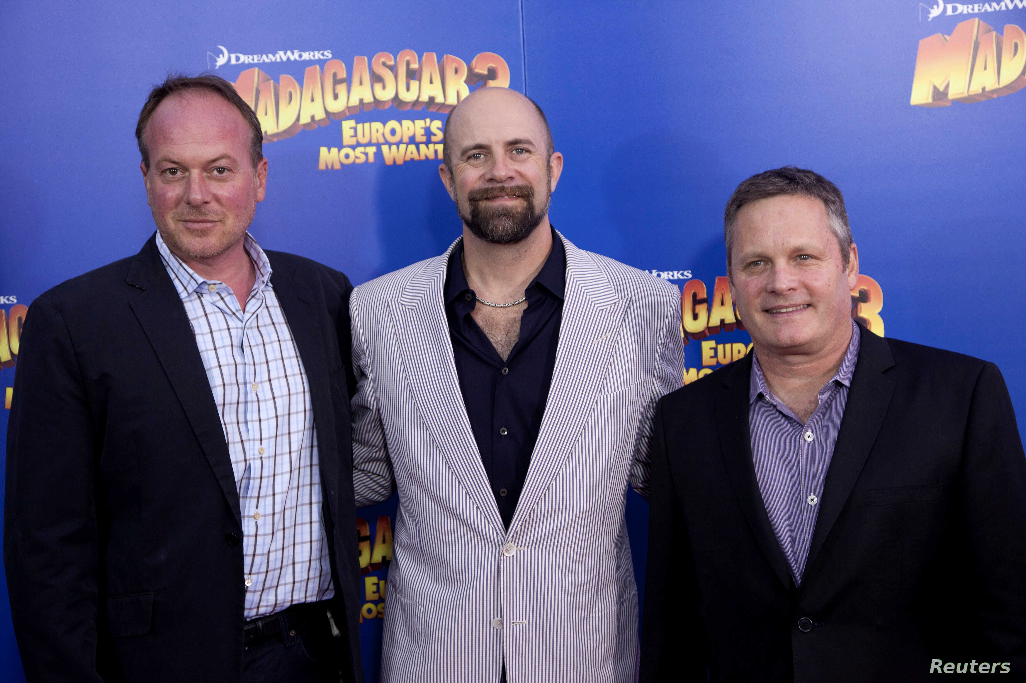 """FILE - Directors Tom McGrath (L), Conrad Vernon and Eric Darnell (R) arrive for the premiere of """"Madagascar 3: Europe's Most Wanted"""", in New York, June 7, 2012."""
