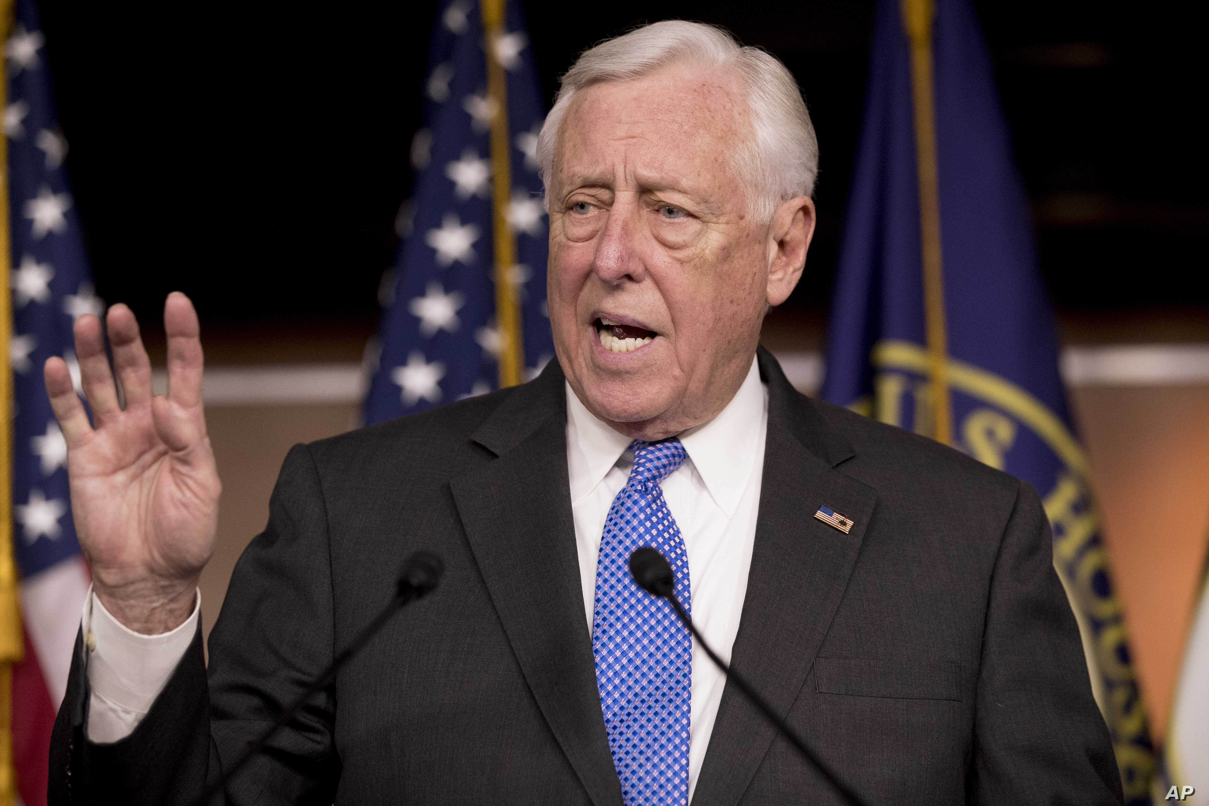 House Majority Leader Steny Hoyer of Maryland, speaks at a news conference to introduce legislation supporting NATO on Capitol Hill in Washington, Jan. 22, 2019.