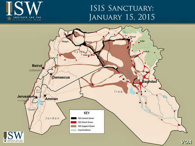 ISIS sanctuary as of January 15, 2015, devised by the Institute for the Study of War. (ICW)