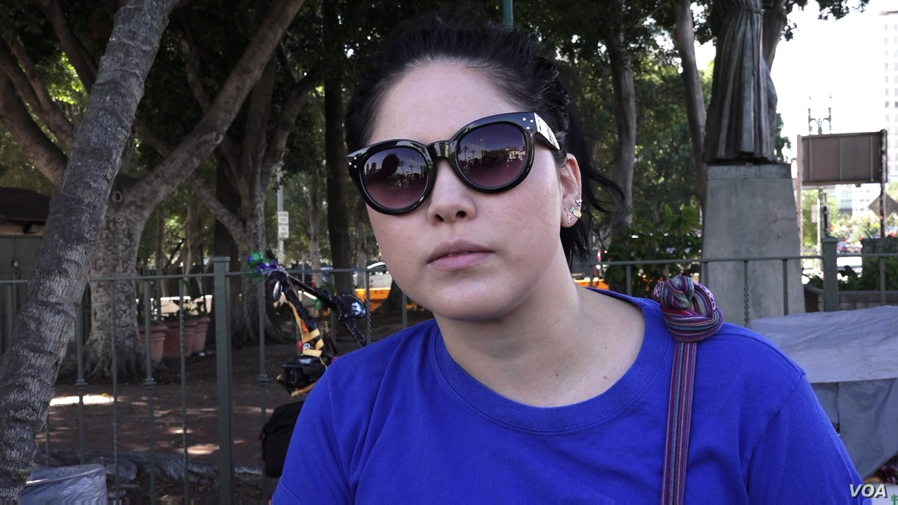 """Andreyna Baldenegro of CARACEN, the Central American Resource Center in Los Angeles, says she is """"still in shock"""" over the election of Donald Trump as US President. (E.Lee/VOA)"""