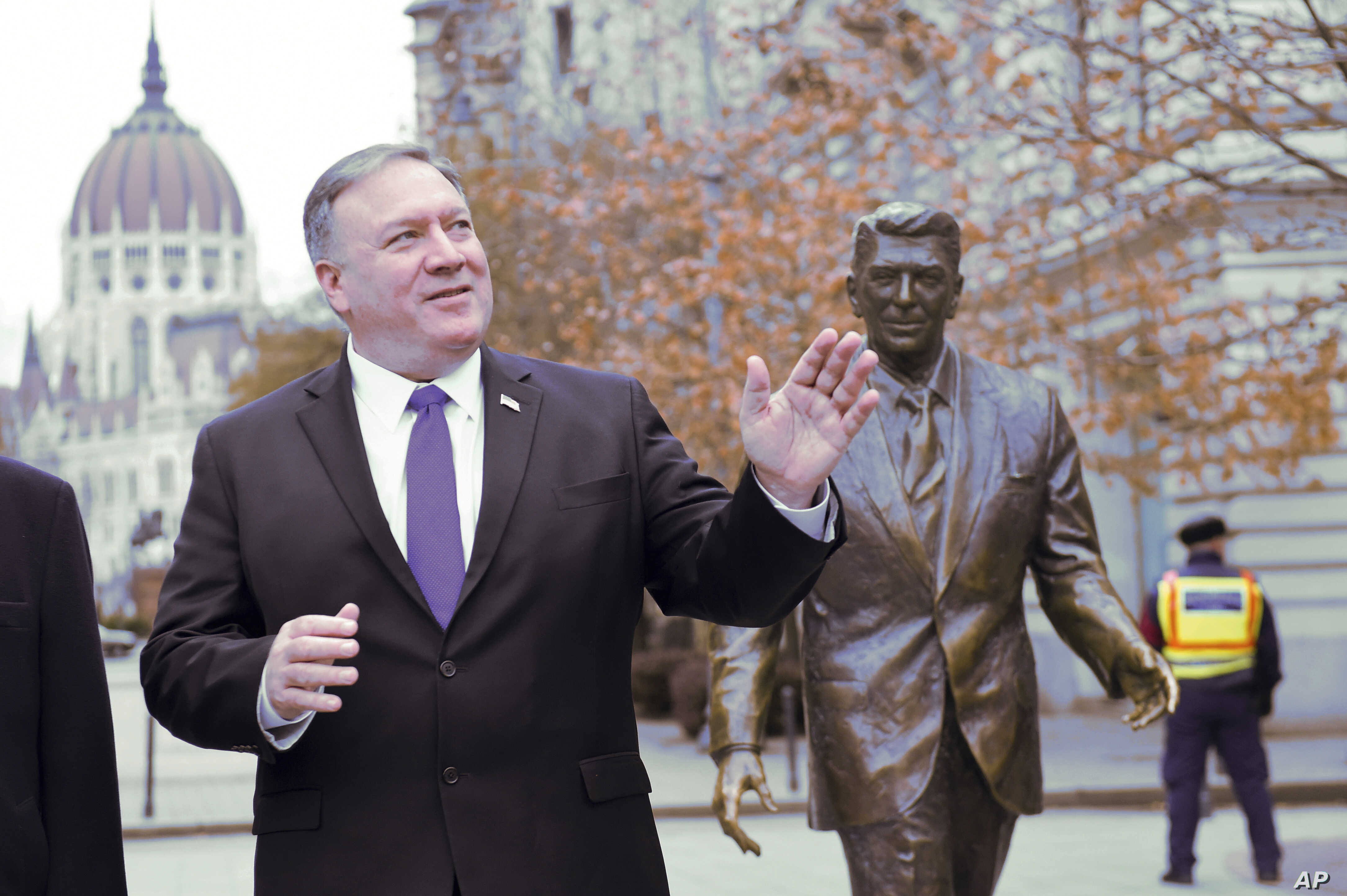 U.S. Secretary of State Mike Pompeo is pictured next to a statue of former U.S. President Ronald Reagan at the Liberty square (Szabadsag) in Budapest, Hungary, Feb. 11, 2019.