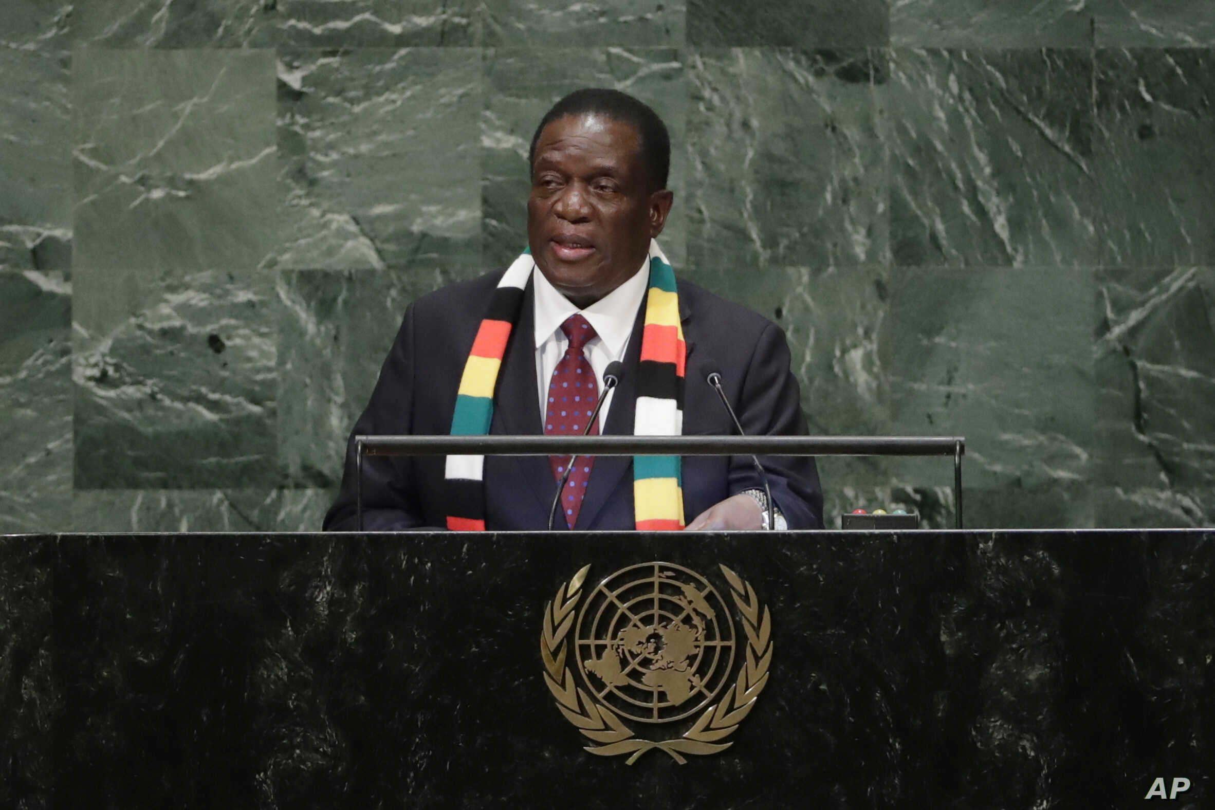 FILE - Zimbabwe's President Emmerson Dambudzo Mnangagwa addresses the 73rd session of the United Nations General Assembly, Sept. 26, 2018, at the United Nations headquarters. (