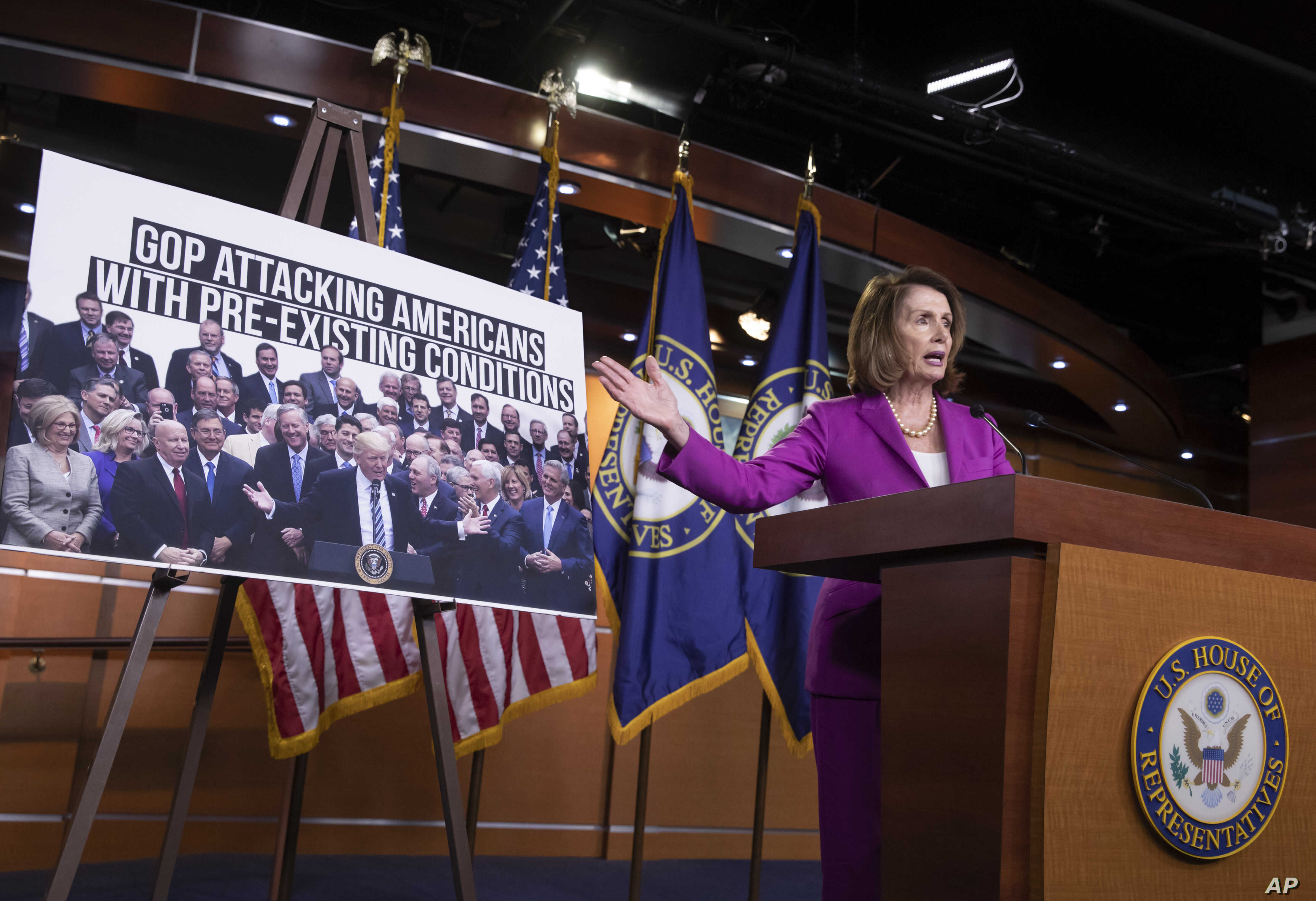 """House Minority Leader Nancy Pelosi, D-Calif., speaks with reporters in advance of votes on two broad immigration bills, deriding the Republican immigration legislation as a """"compromise with the devil,"""" at the Capitol in Washington, June 21, 2018."""