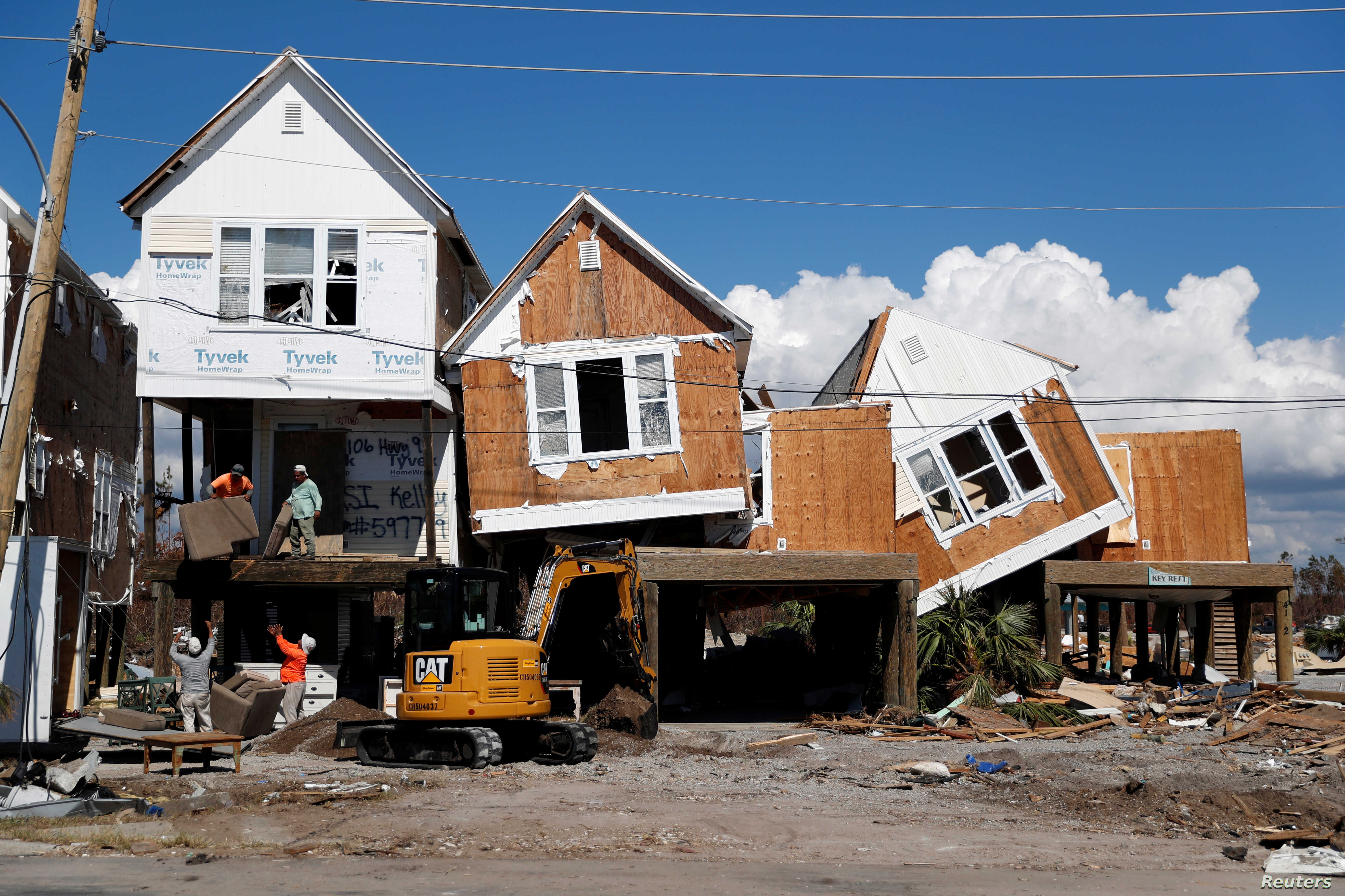 Damage caused by Hurricane Michael is seen in Mexico Beach, Florida, U.S., October 16, 2018.