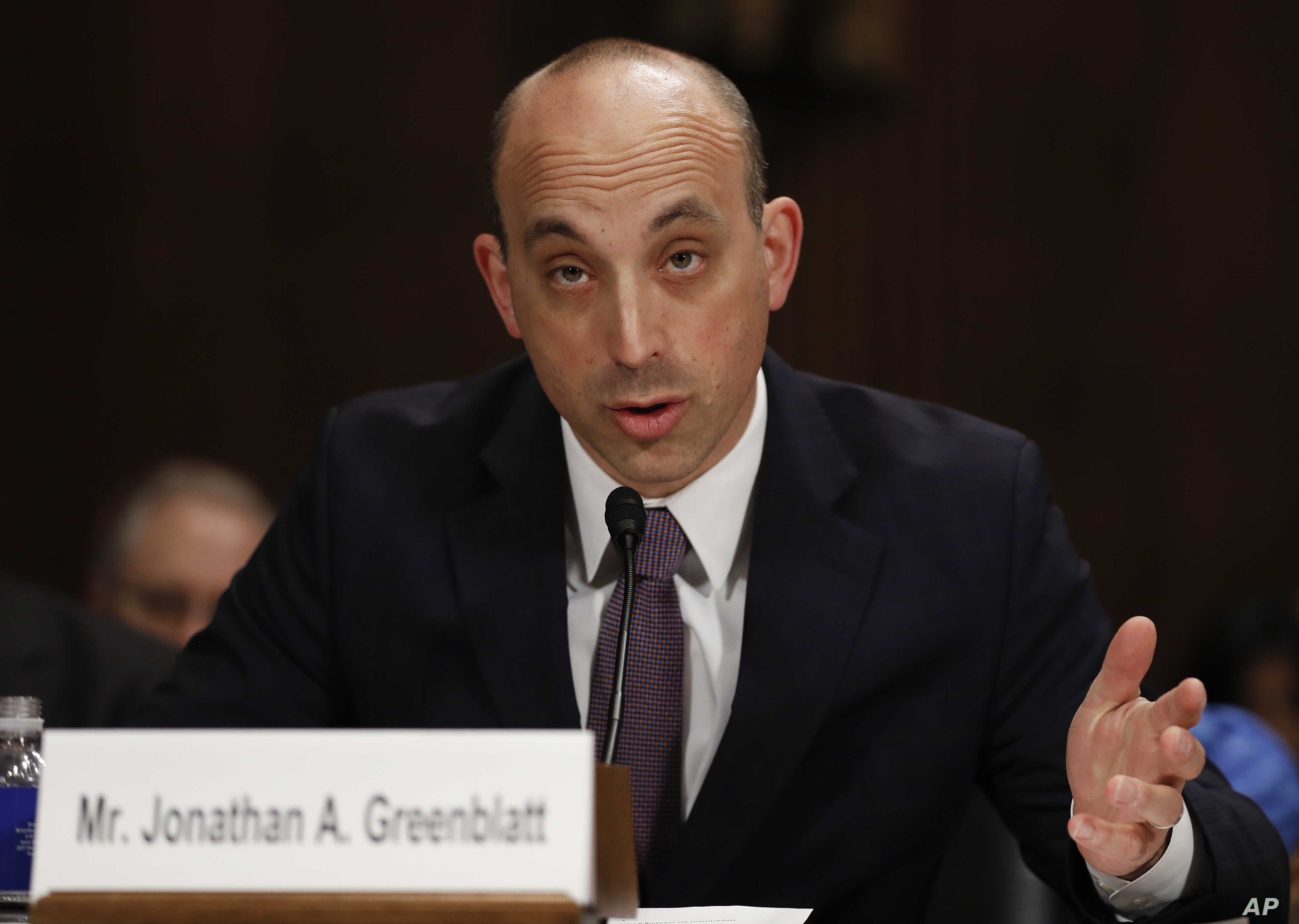 FILE - Jonathan Greenblatt, CEO And National Director of the Anti-Defamation League testifies on Capitol Hill in Washington, May 2, 2017, before a Senate Judiciary Committee hearing on responses to the increase in religious hate crimes.