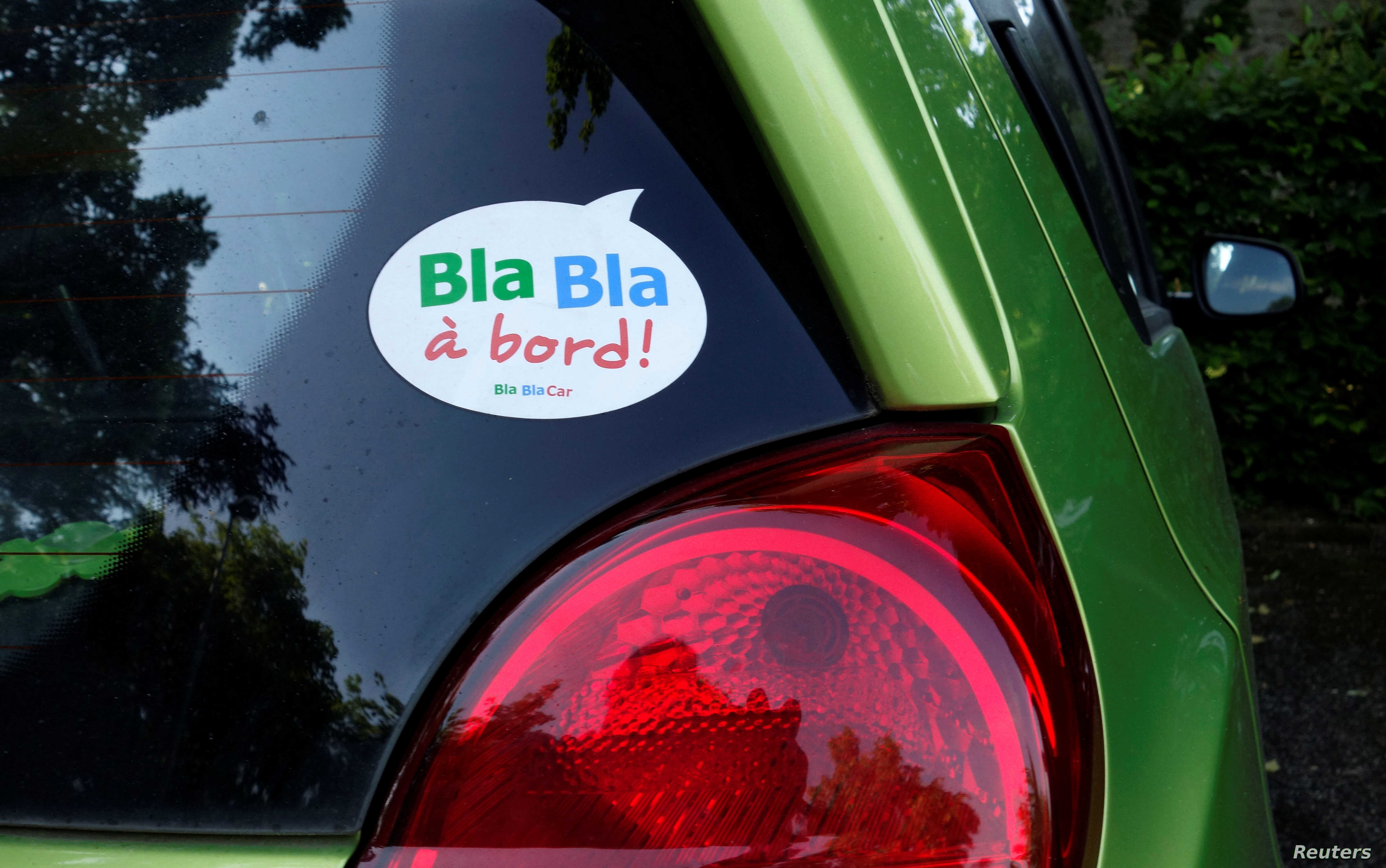 A sticker of French ride-sharing start-up BlaBlaCar is seen on a car May 27, 2017 at Le Coudray-Montceaux, near Paris, France.