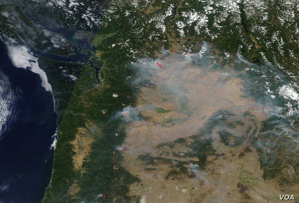 Western and central Washington State are covered with smoke from several raging fires. NASA's Terra satellite saw a blanket of smoke Aug. 17.