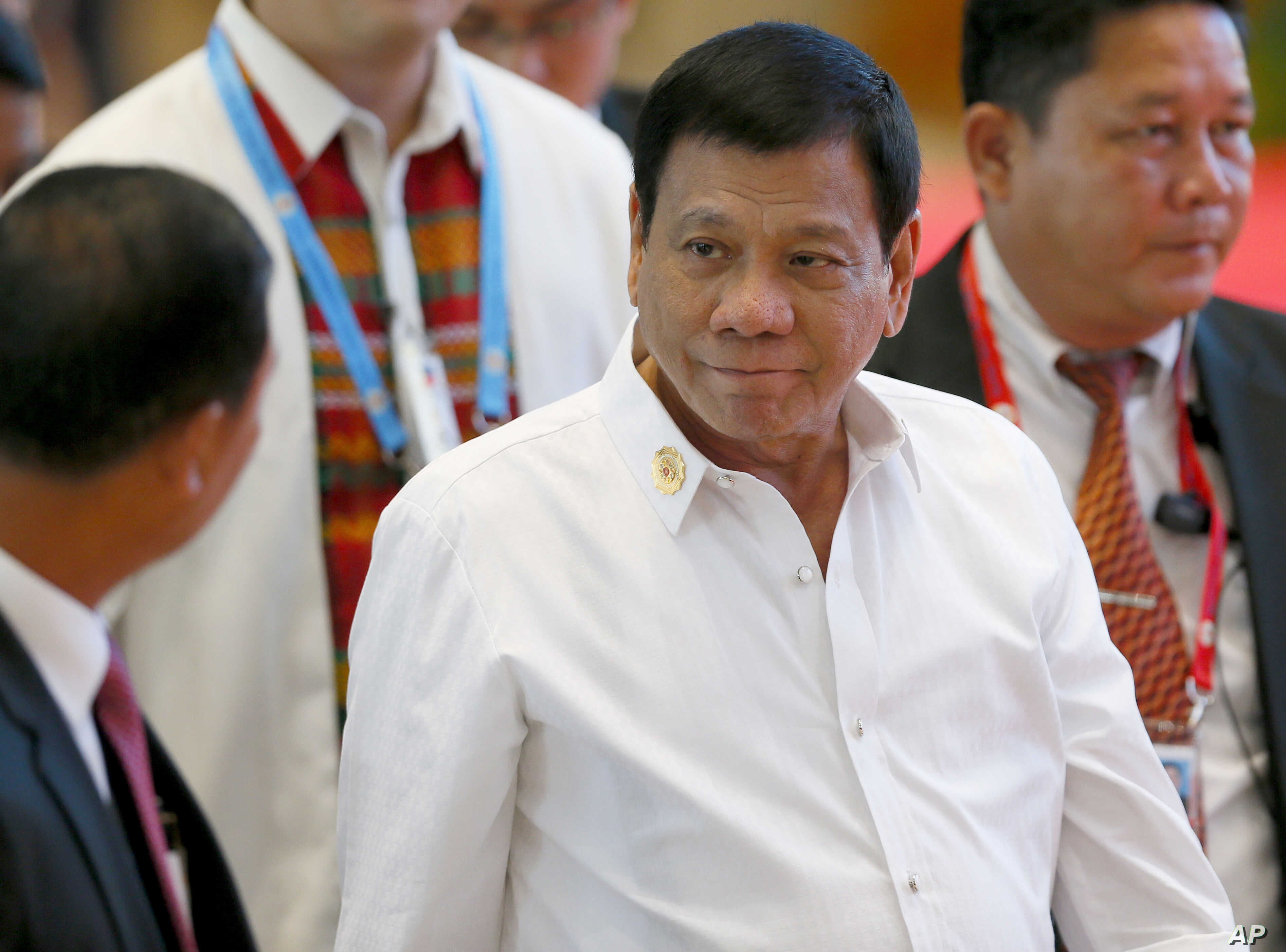 Philippine President Rodrigo Duterte arrives at the National Convention Center for scheduled bilateral meetings with ASEAN leaders on the sidelines of the 28th and 29th ASEAN Summits and other related summits Tuesday, Sept. 6, 2016.
