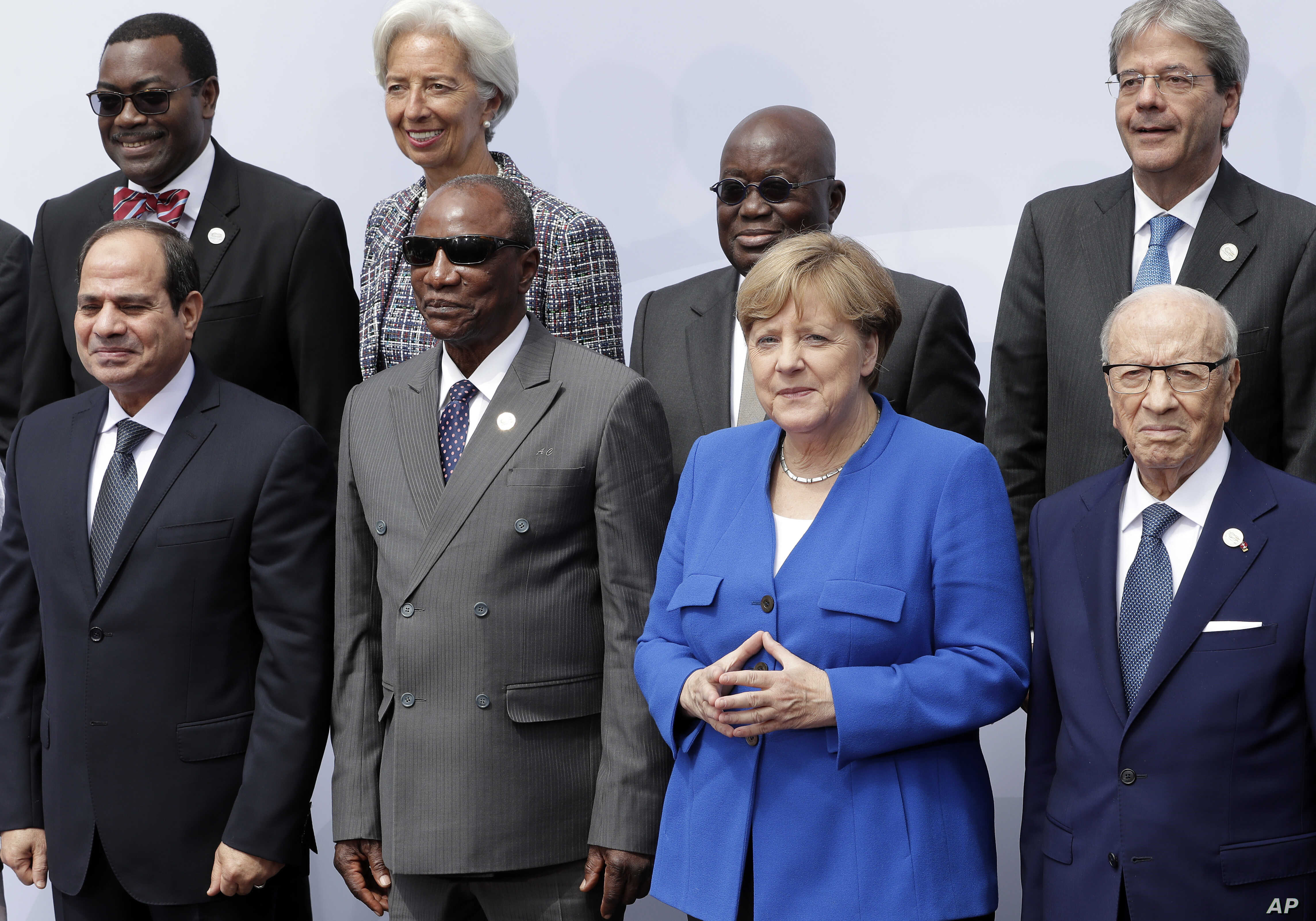 Front from left, the president of Egypt, Abdel Fattah el-Sissi, chairman of the African Union and President of Guinea Alpha Conde, German Chancellor Angela Merkel and the President of Tunisia during the conference 'G20 Africa Partnership – Investin...