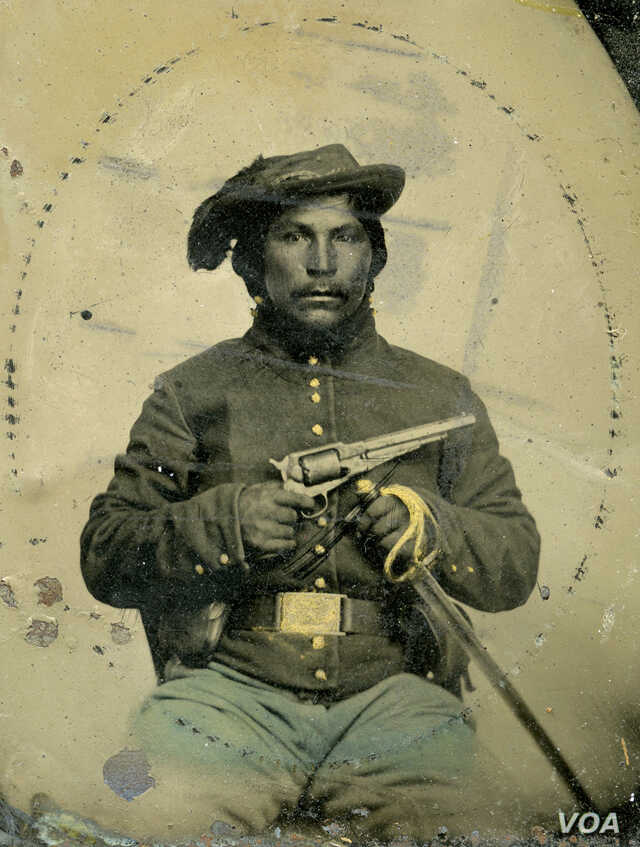 This undated photo shows an unidentified Native American soldier dressed in a Union uniform.  Native Americans fought on both sides of the U.S. Civil War.
