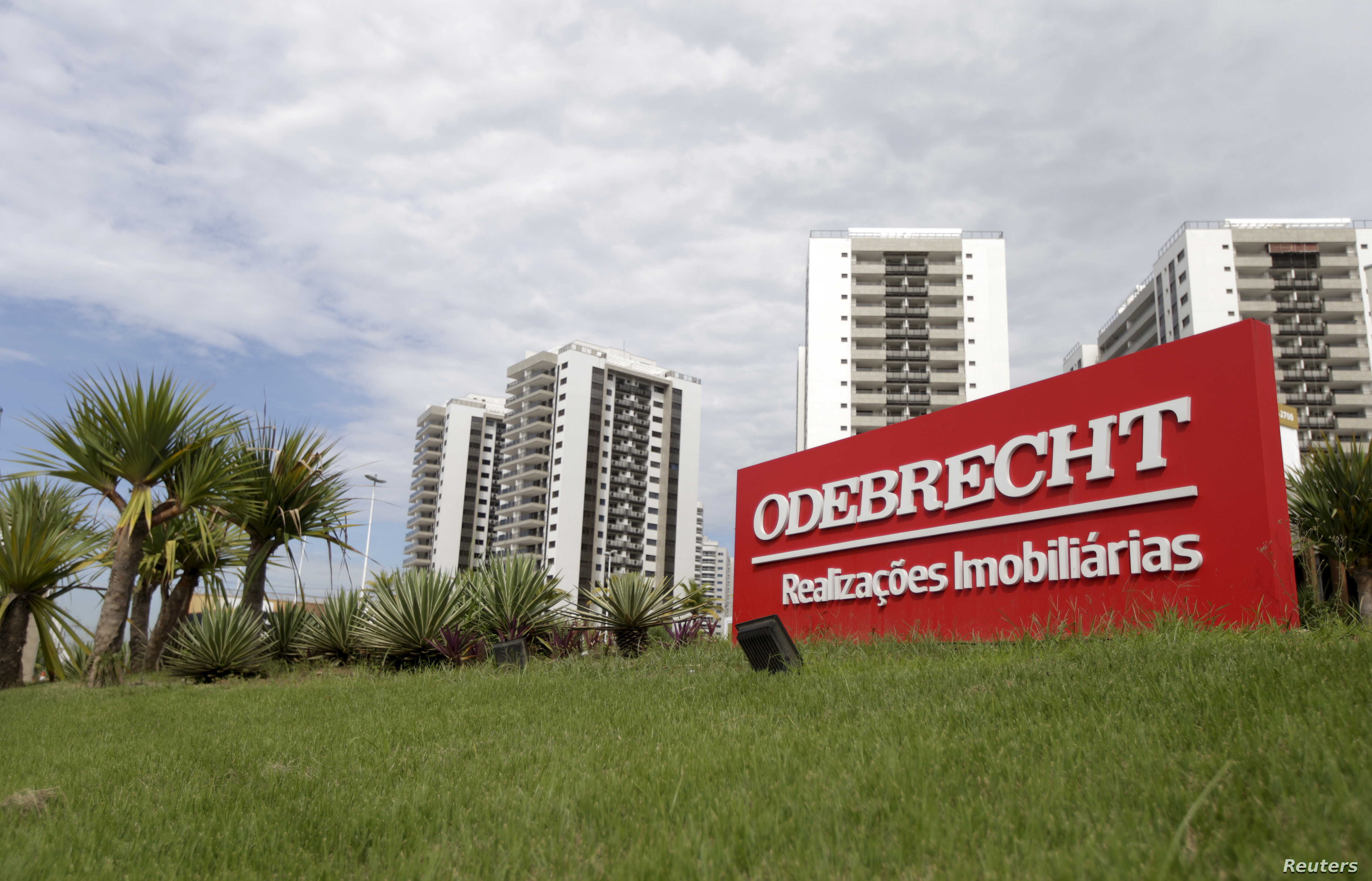 A sign of the Odebrecht SA construction conglomerate is pictured in Rio de Janeiro, Brazil, Feb. 26, 2016.