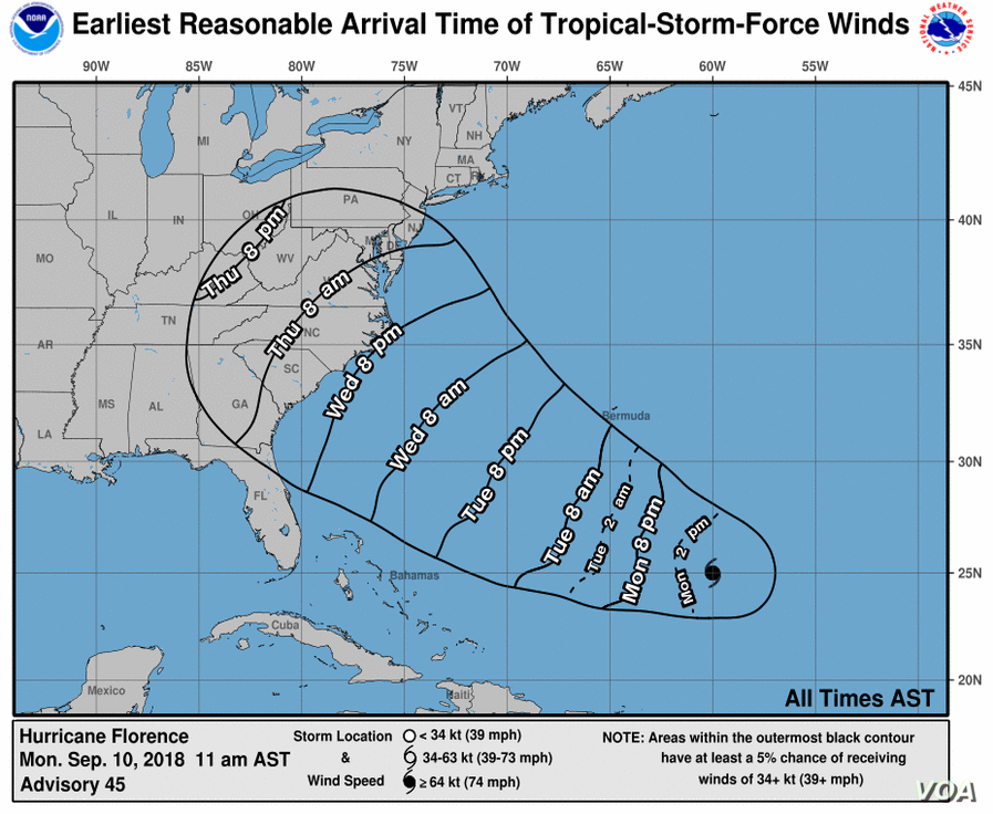 Earliest reasonable arrival time of Hurricane Florence's tropical-storm-force winds. (The National Hurricane Center)