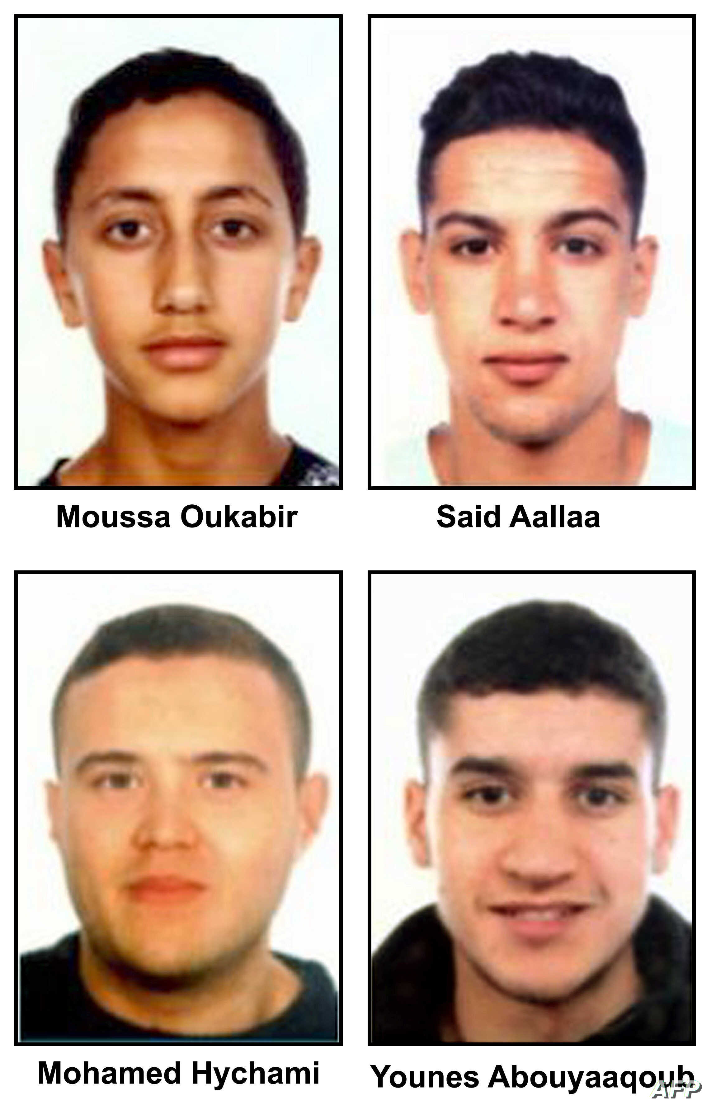 "A combo of handout images released by the Catalan regional police ""Mossos D'Esquadra"" on August 18, 2017 shows four suspects of the Barcelona and Cambrils attacks, (from top L) Moussa Oukabir, Said Aalla, Mohamed Hychami and Younes Abouyaaqoub."