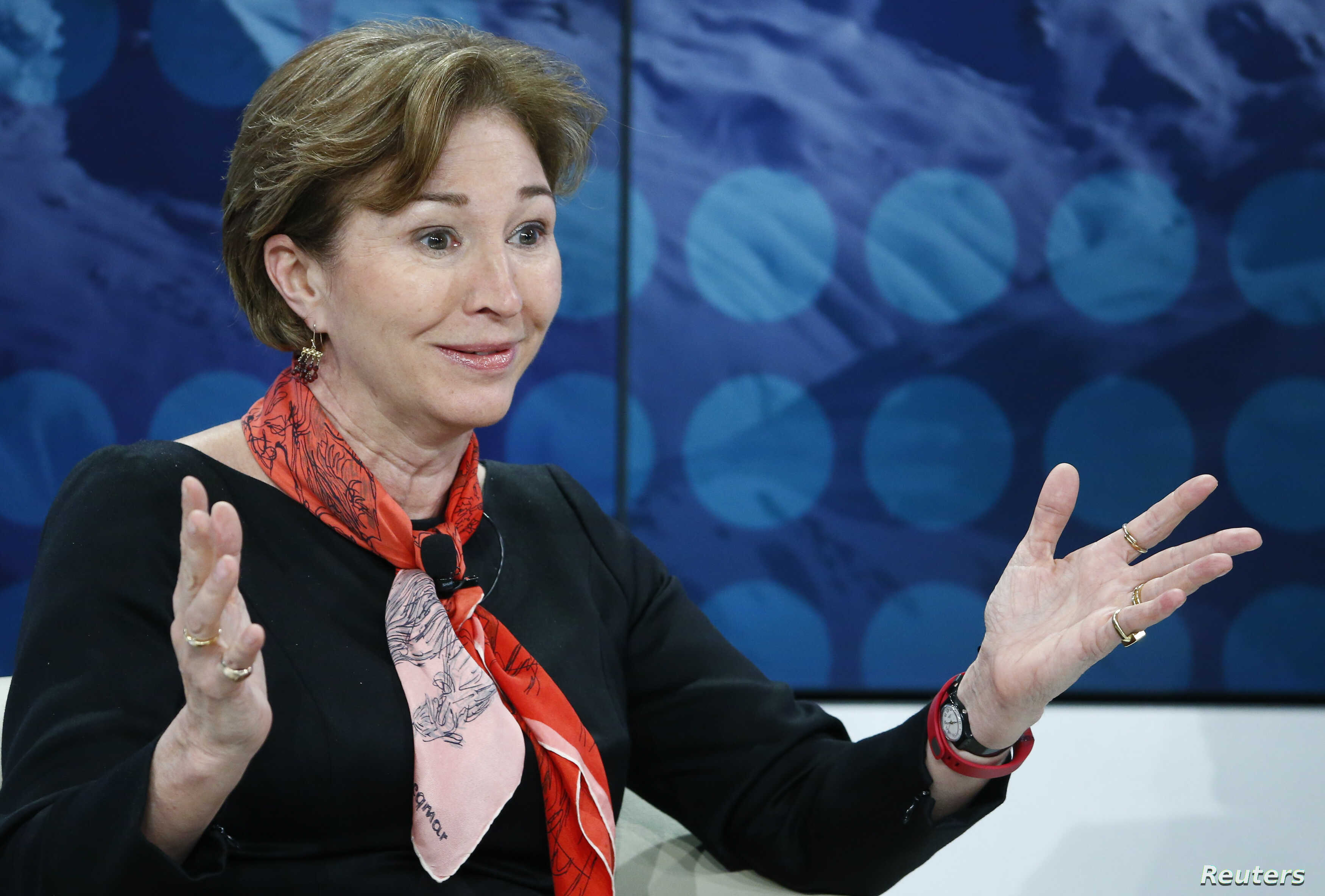 """Anne-Marie Slaughter, President and CEO of New America, attends the session """"The Diversity Dividend""""  in the Swiss mountain resort of Davos, Jan. 24, 2015."""