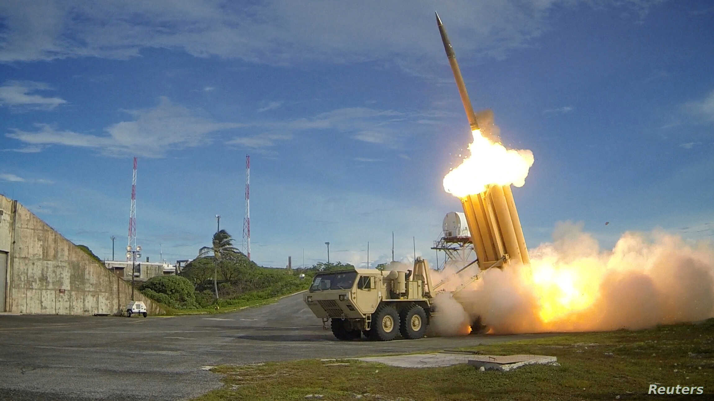 A Terminal High Altitude Area Defense (THAAD) interceptor is launched during a successful intercept test, in this undated photo provided by the U.S. Department of Defense.