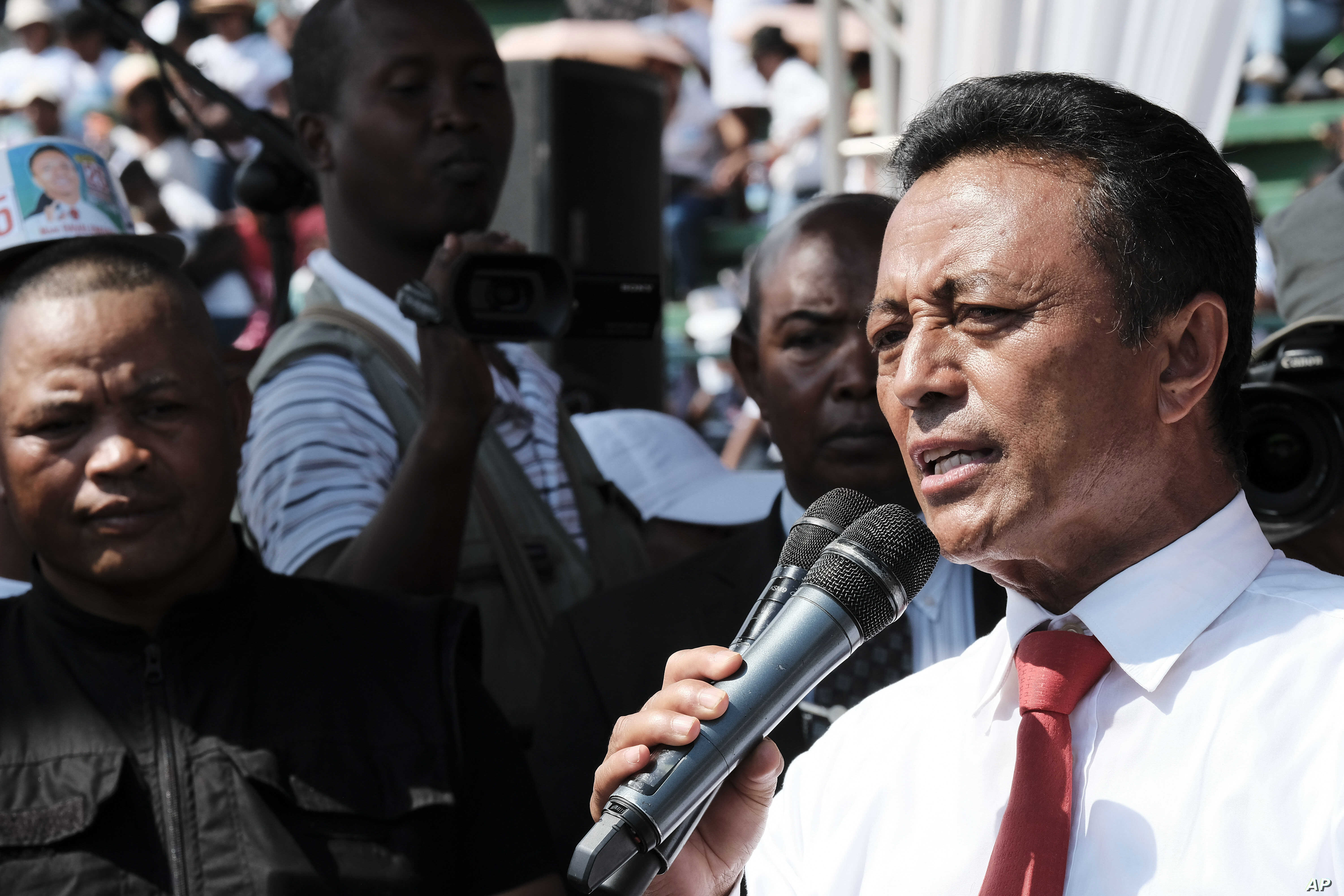 Presidential hopeful Marc Ravalomanana attends an election rally in Antananarivo, Madagascar, Nov. 3, 2018.
