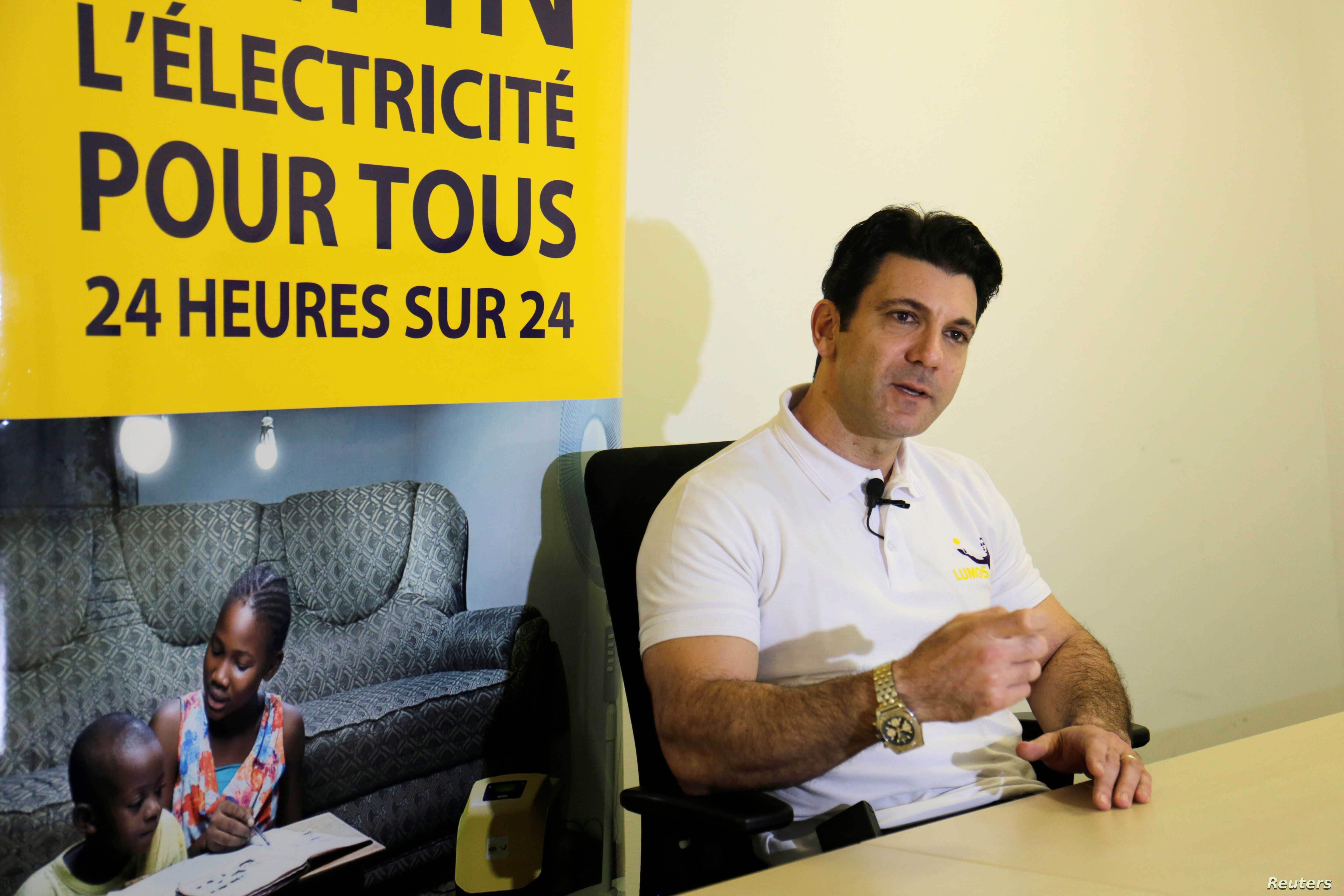 Stephane Abrahams, CEO of Lumos Ivory Coast, speaks during an interview with Reuters in Abidjan, Ivory Coast, Nov. 10, 2017.