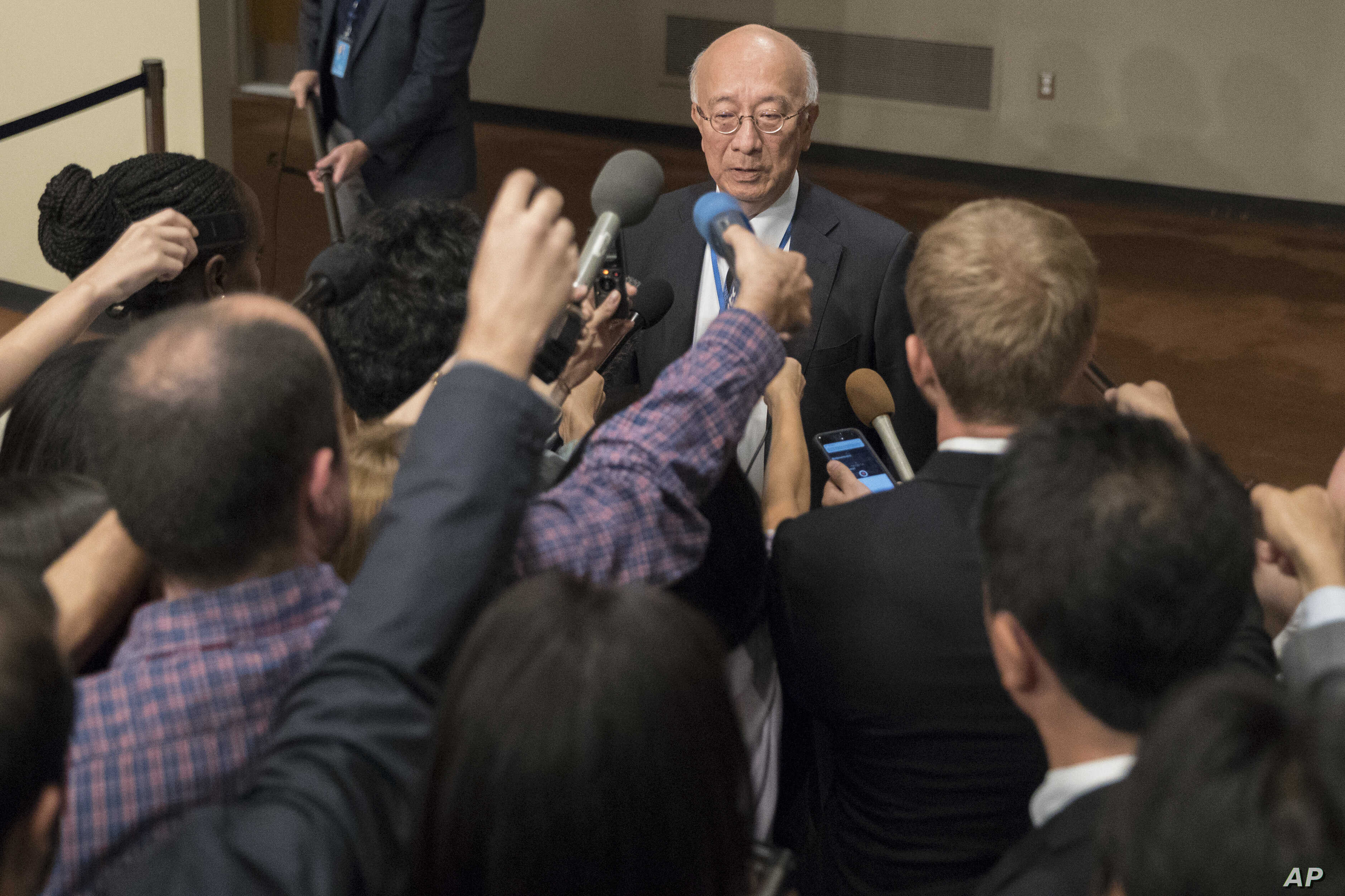 Japanese Ambassador to the United Nations Koro Bessho speaks to reporters before Security Council consultations on the situation in North Korea, Sept. 15, 2017, at U.N. headquarters.