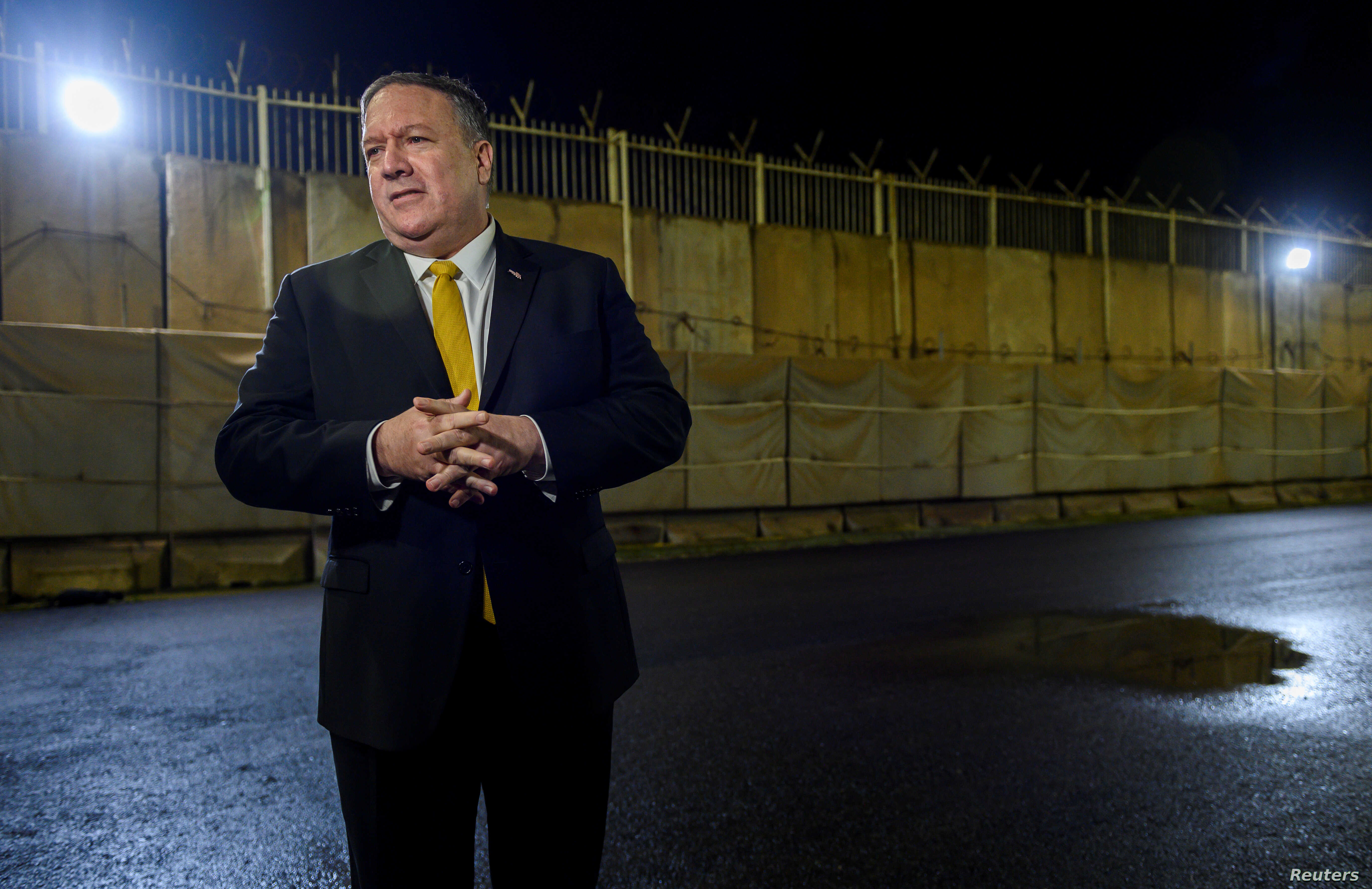 U.S. Secretary of State Mike Pompeo speaks to the press at the U.S. Embassy compound in Baghdad, Iraq, Jan. 9, 2019.