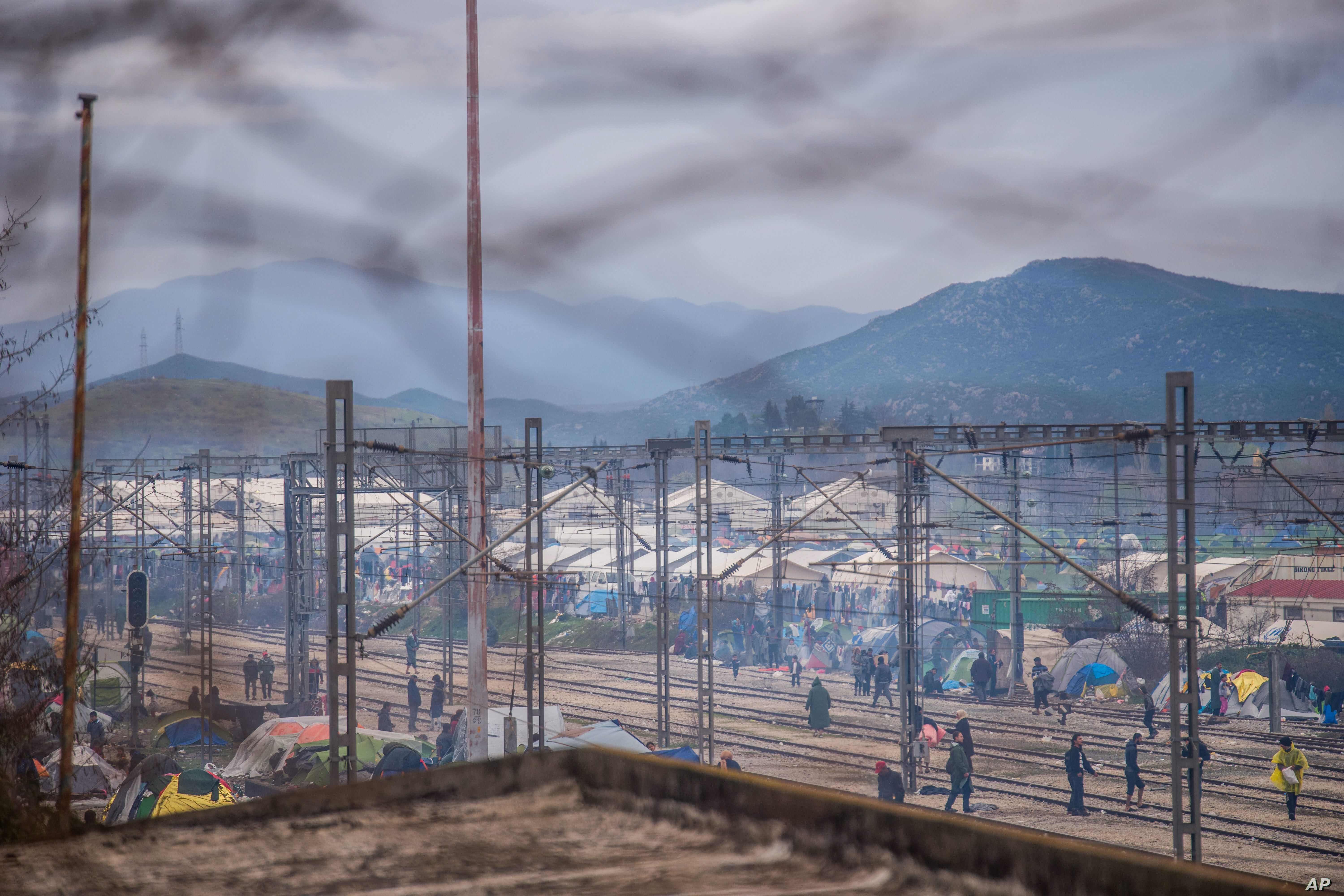 The camp in Idomeni, photographed from the Greek side of the border between Greece and Macedonia, March 10, 2016.