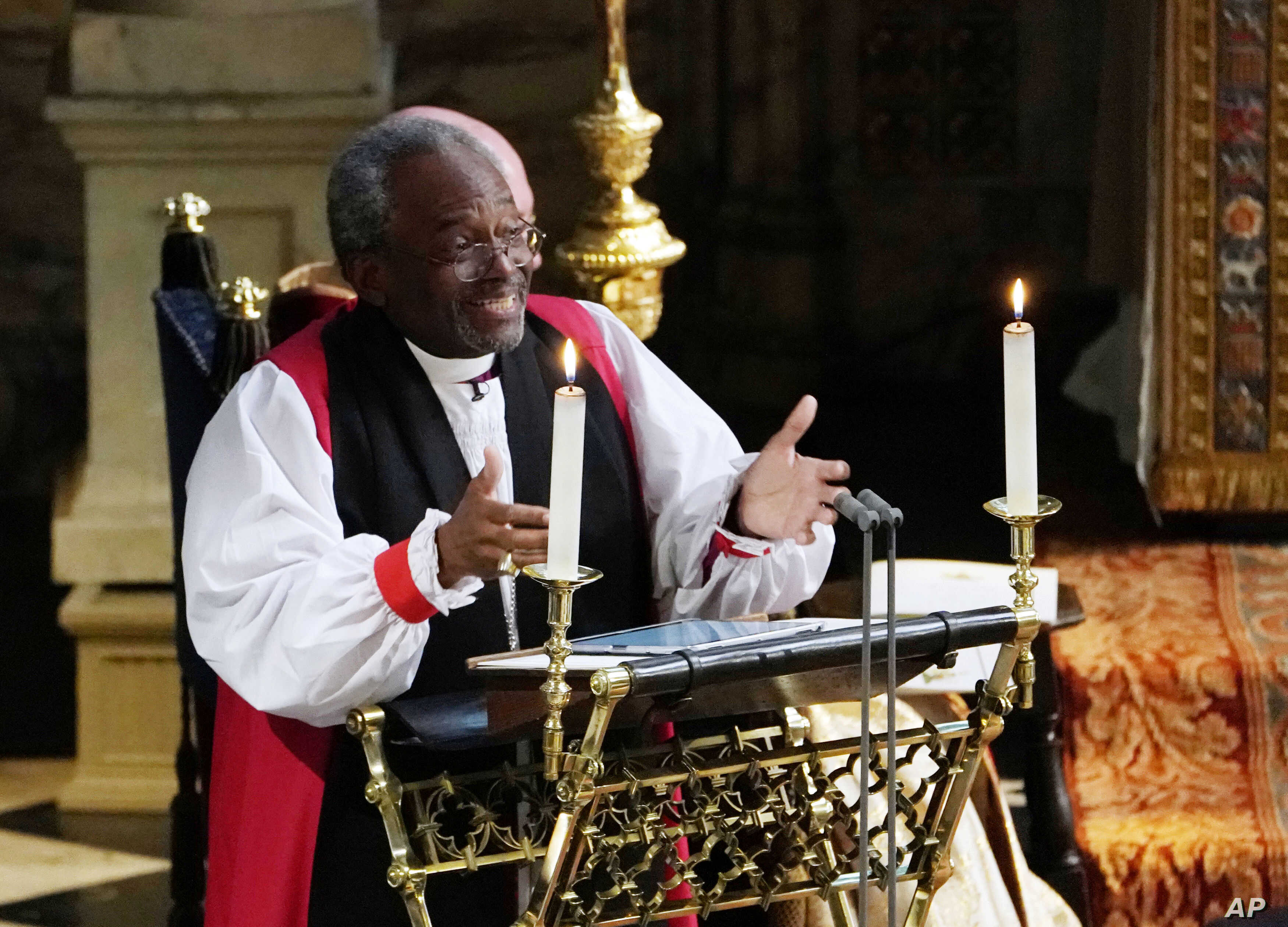 The Most Rev Bishop Michael Curry, primate of the Episcopal Church, speaks during the wedding ceremony of Prince Harry and Meghan Markle, May 19, 2018.
