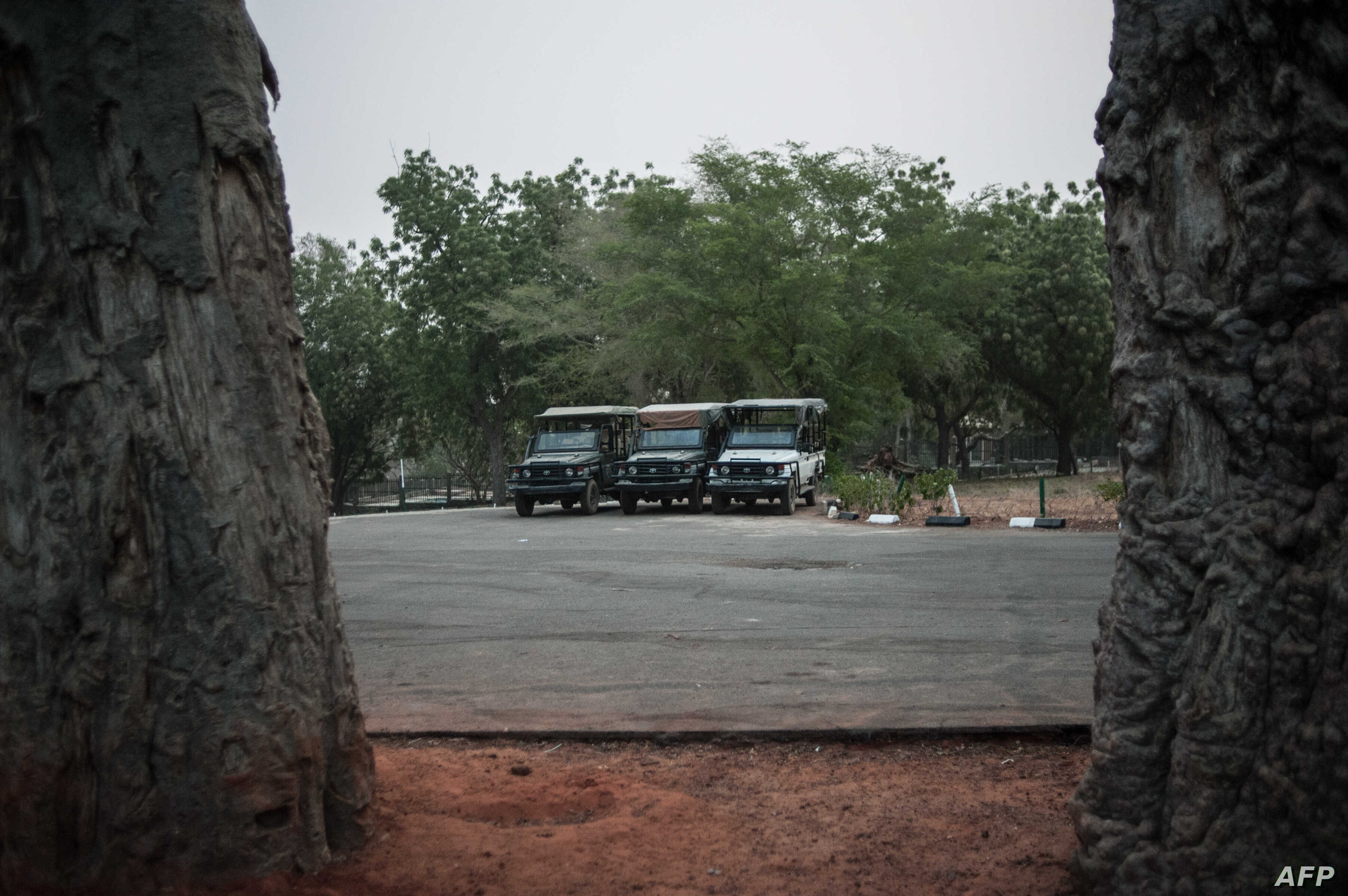 FILE - Game-viewing vehicles are parked and ready to take tourists through Yankari Game Reserve in the northeastern Nigeria, March 4, 2016.