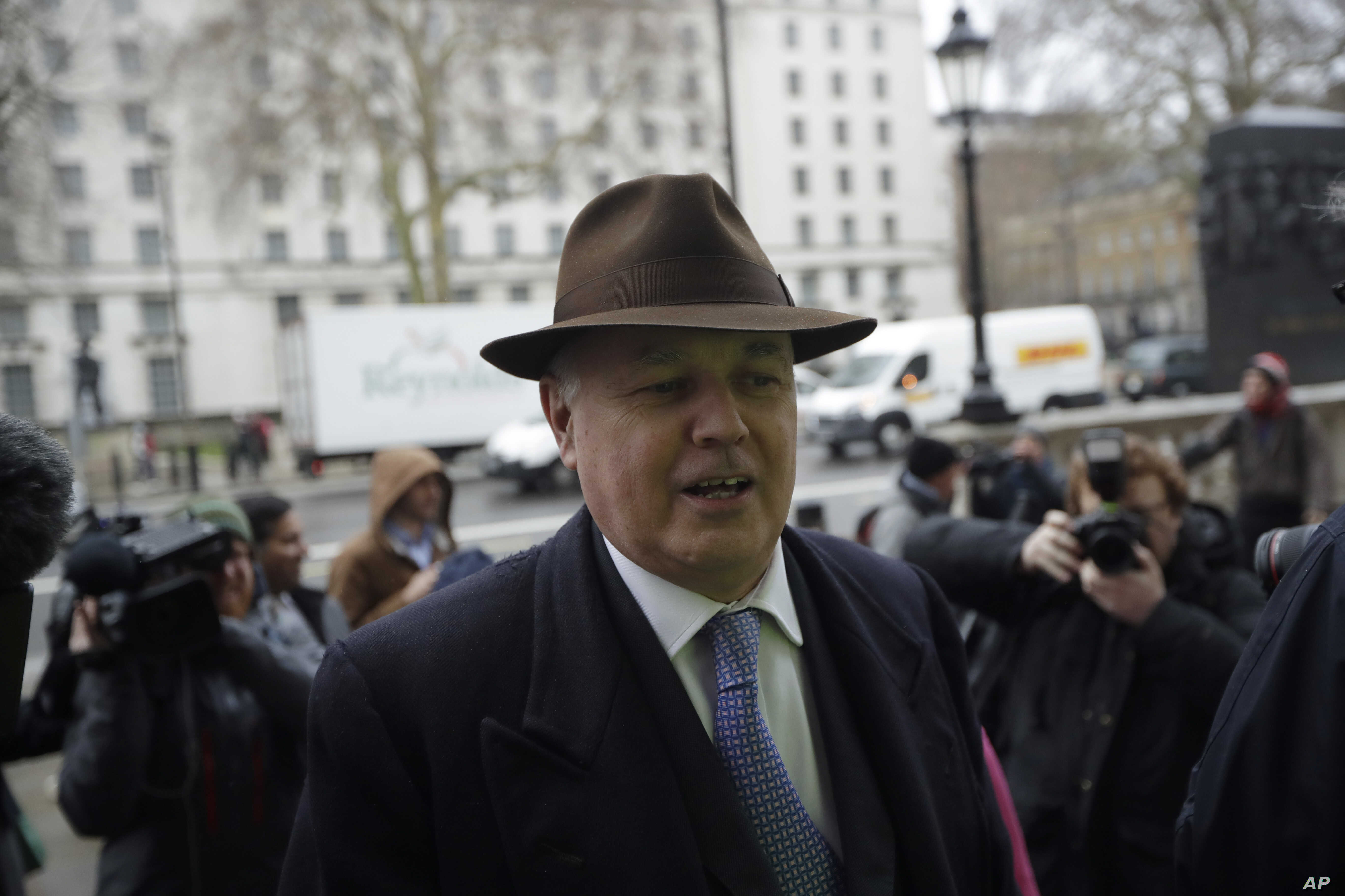 "Former leader of Britain's ruling Conservative Party Iain Duncan Smith arrives for a meeting in London, Feb. 4, 2019. Prime Minister Theresa May was gathering pro-Brexit and pro-EU Conservative lawmakers into an ""alternative arrangements working grou..."