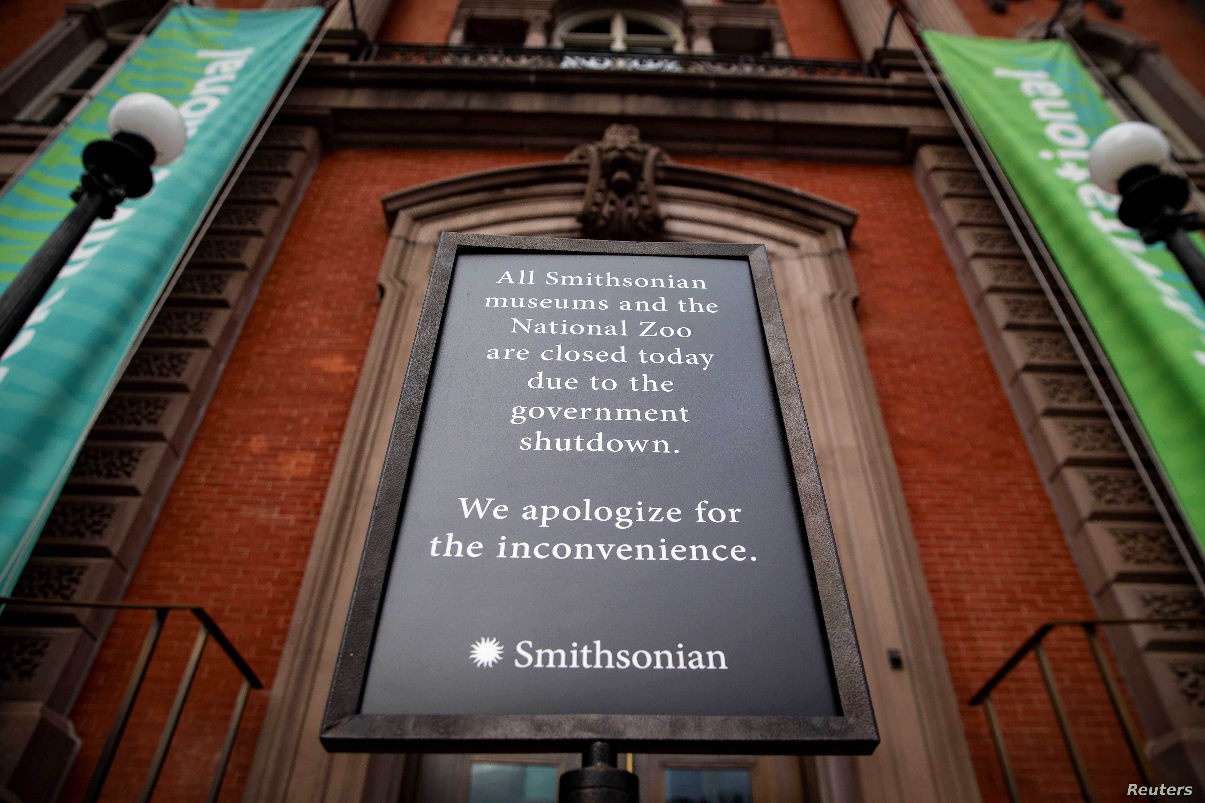 A sign outside of the Renwick Gallery stating that all Smithsonian museums are closed is seen on day 30 of a partial government shutdown, in Washington, U.S., Jan. 20, 2019.