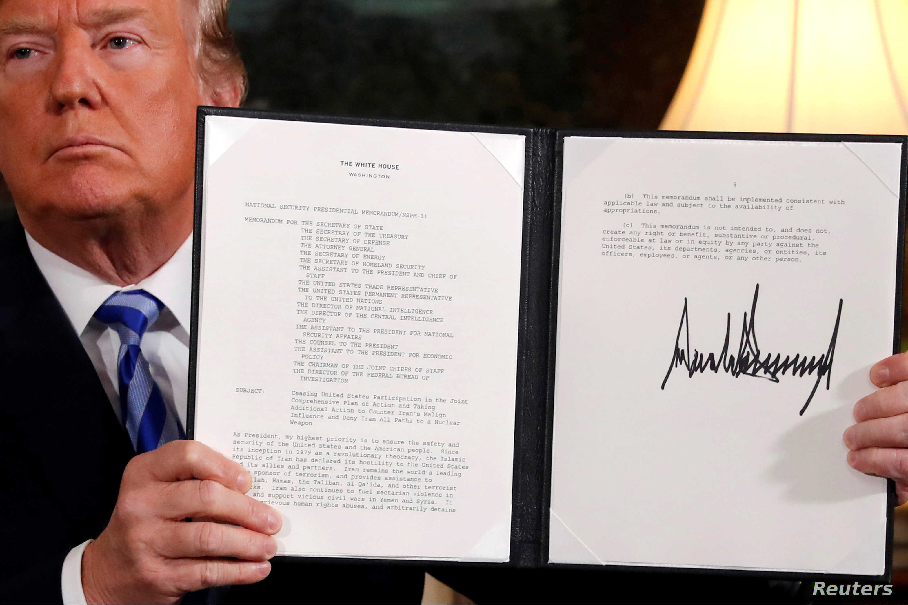 Trump Reimposes Economic Sanctions on Iran | Voice of