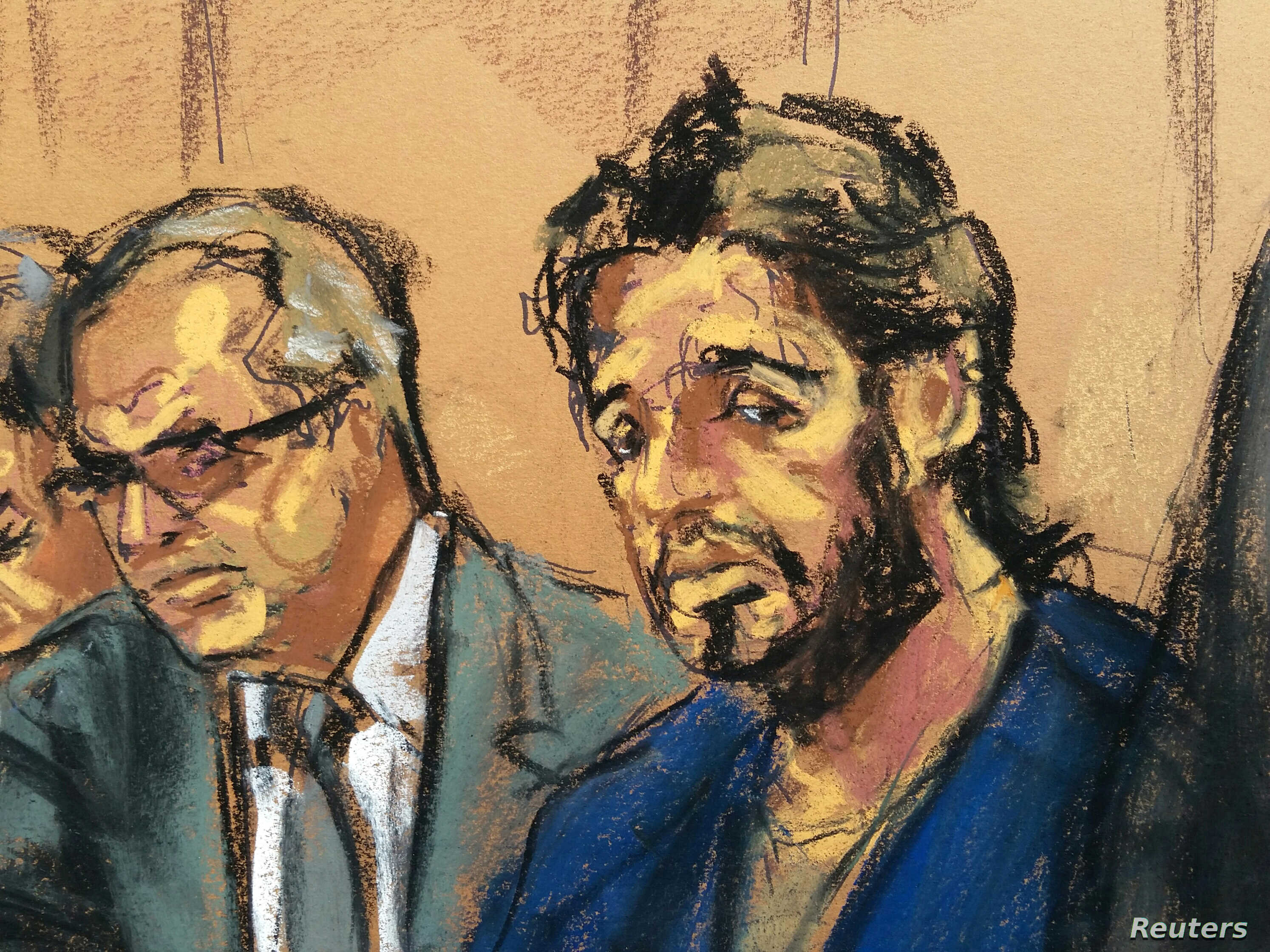 Turkish gold trader Reza Zarrab is shown in this court room sketch with lawyer Marc Agnifilo (L) as he appears in Manhattan federal court in New York, U.S., April 24, 2017. REUTERS/Jane Rosenberg FOR EDITORIAL USE ONLY. NO RESALES. NO ARCHIVE. - RTS1...