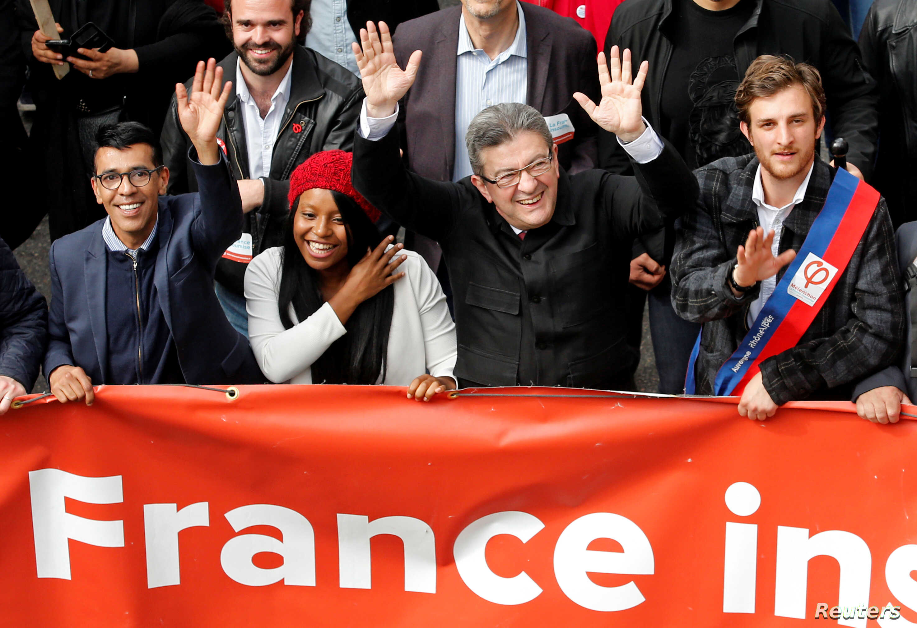 "Jean-Luc Melenchon, leader of far-left opposition ""France Insoumise"" (France Unbowed) political party attends a demonstration against French government reforms in Marseille, France, Apr. 14, 2018."