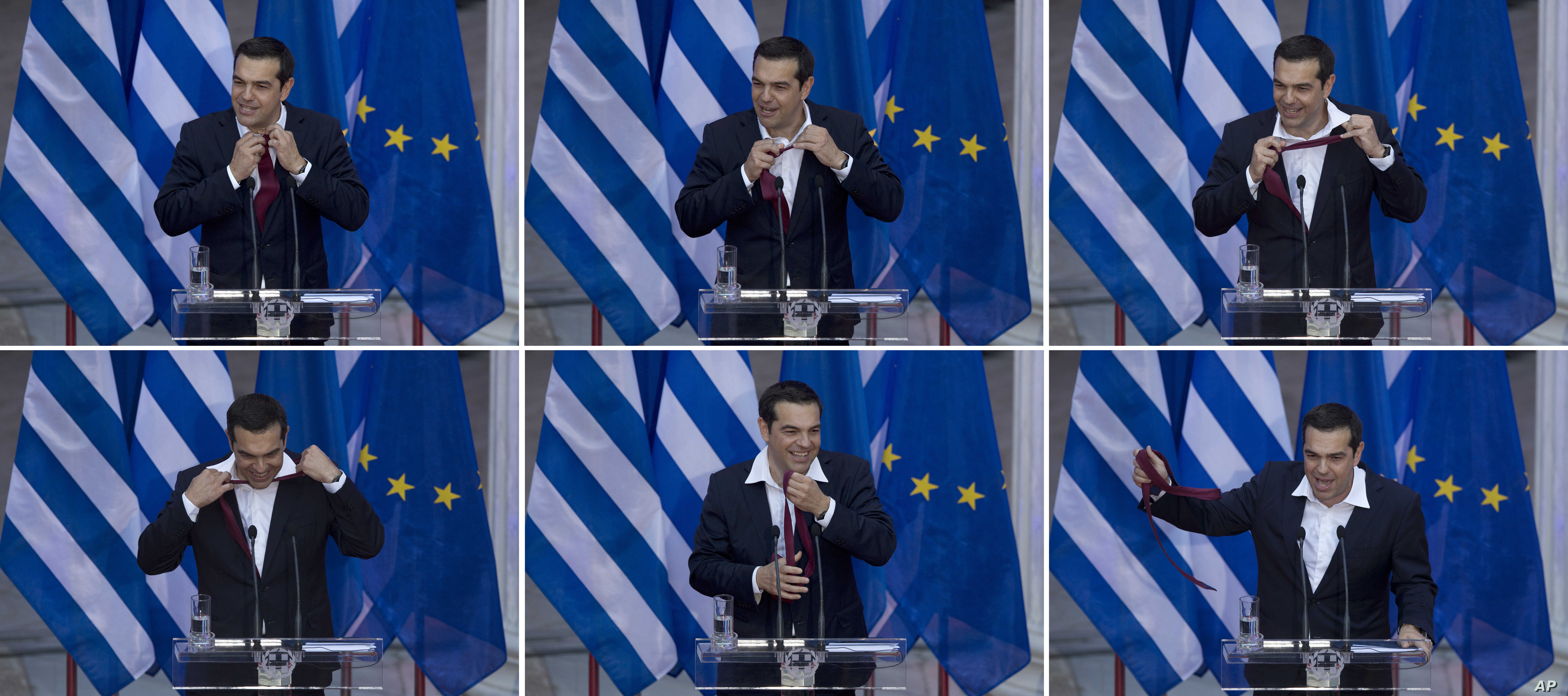 FILE - In this six photo series from top left, Greek Prime Minister Alexis Tsipras removes his tie at the end of his speech to lawmakers from his left-led governing coalition in Athens, June 22, 2018. Greek Prime Minister Alexis Tsipras has donned a ...