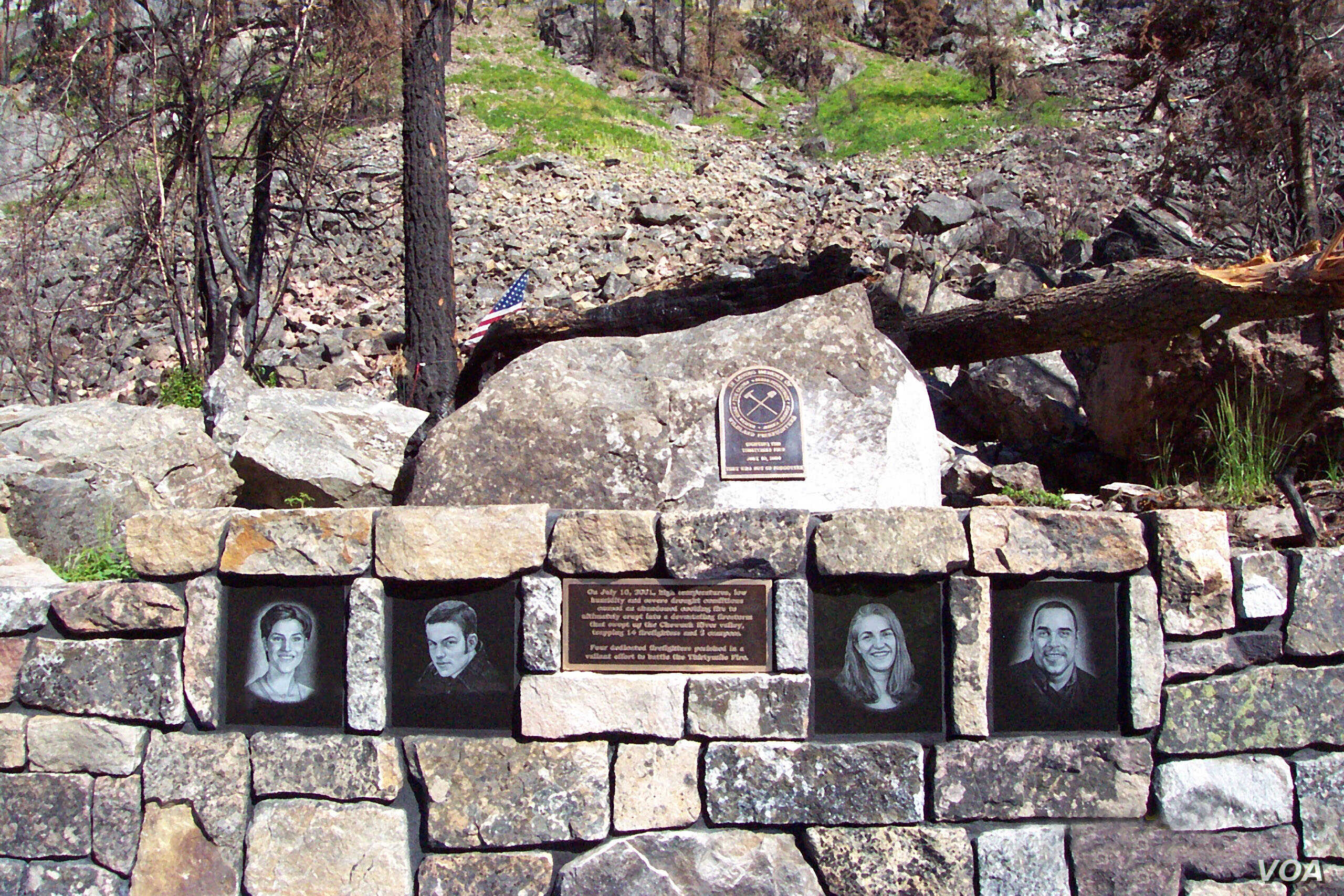 The Thirtymile Fire Memorial was constructed at the site where Jessica Johnson, Devin Weaver, Karen FitzPatrick and Tom Craven died on July 10, 2001, fighting a fire in the Okanogan-Wenatchee National Forest.