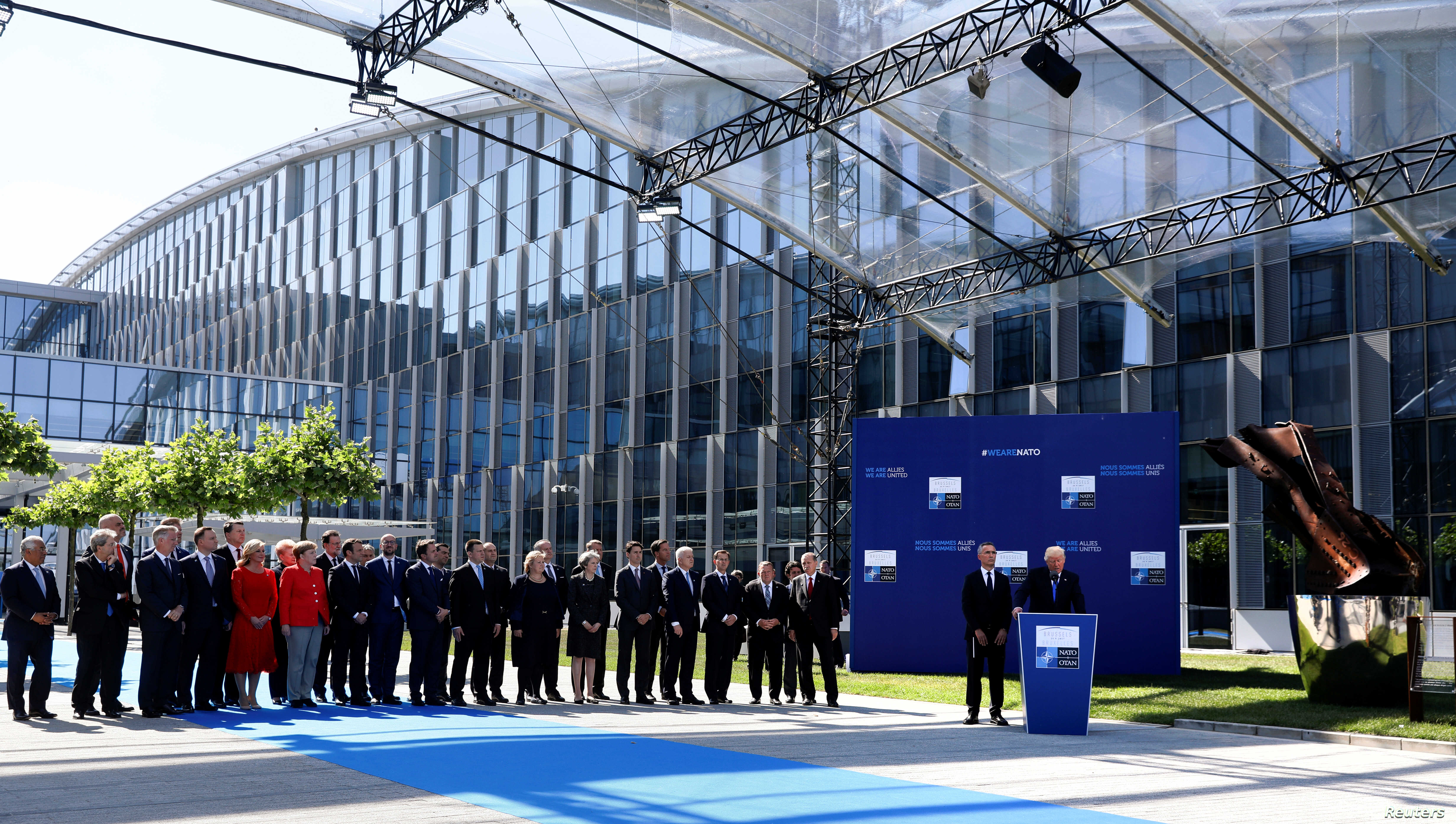U.S. President Donald Trump delivers remarks at the start of the NATO summit at their new headquarters in Brussels, Belgium, May 25, 2017.