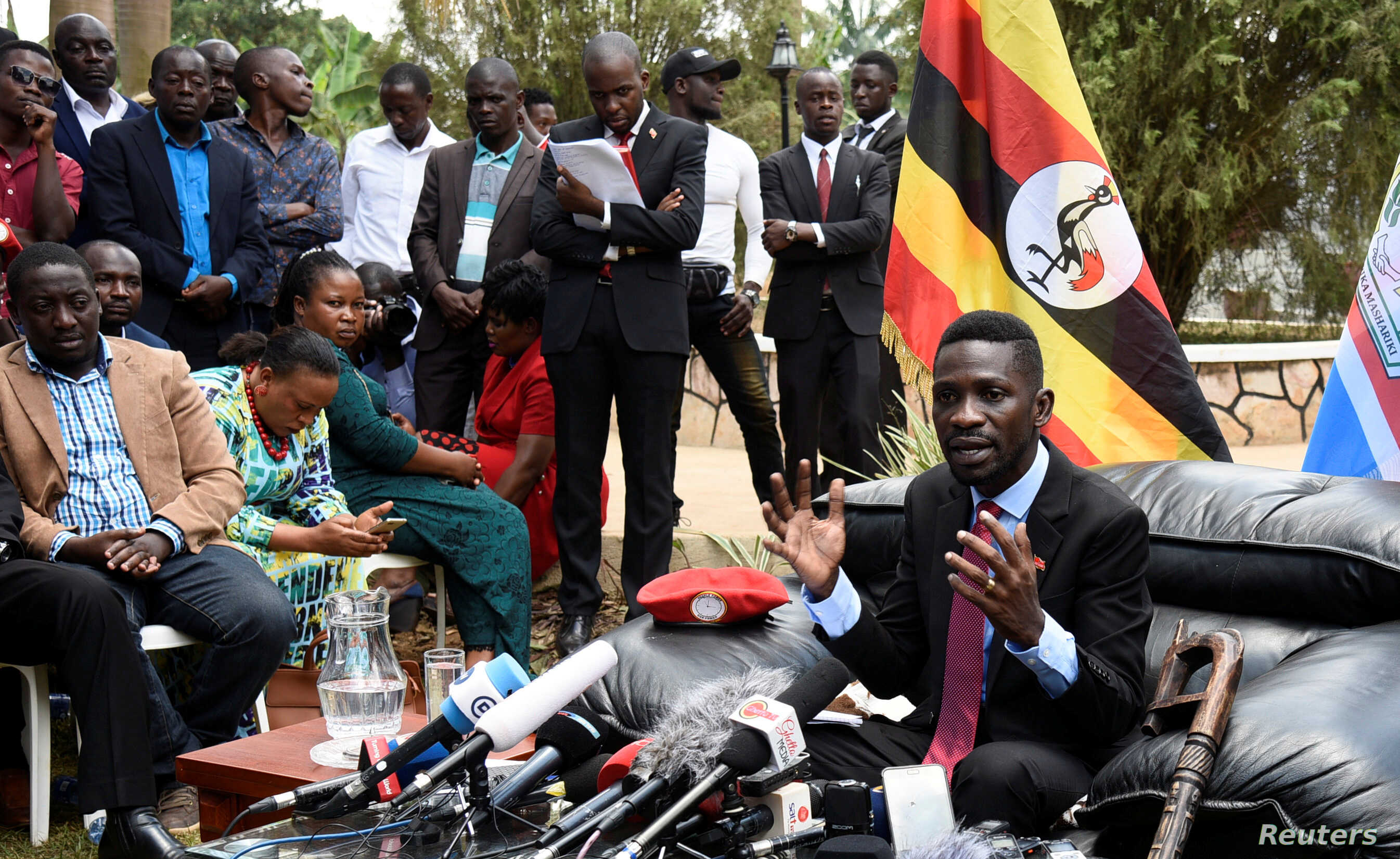 Ugandan musician turned politician, Robert Kyagulanyi also known as Bobi Wine addresses a news conference at his home in Kampala, Uganda, Sept. 24, 2018.