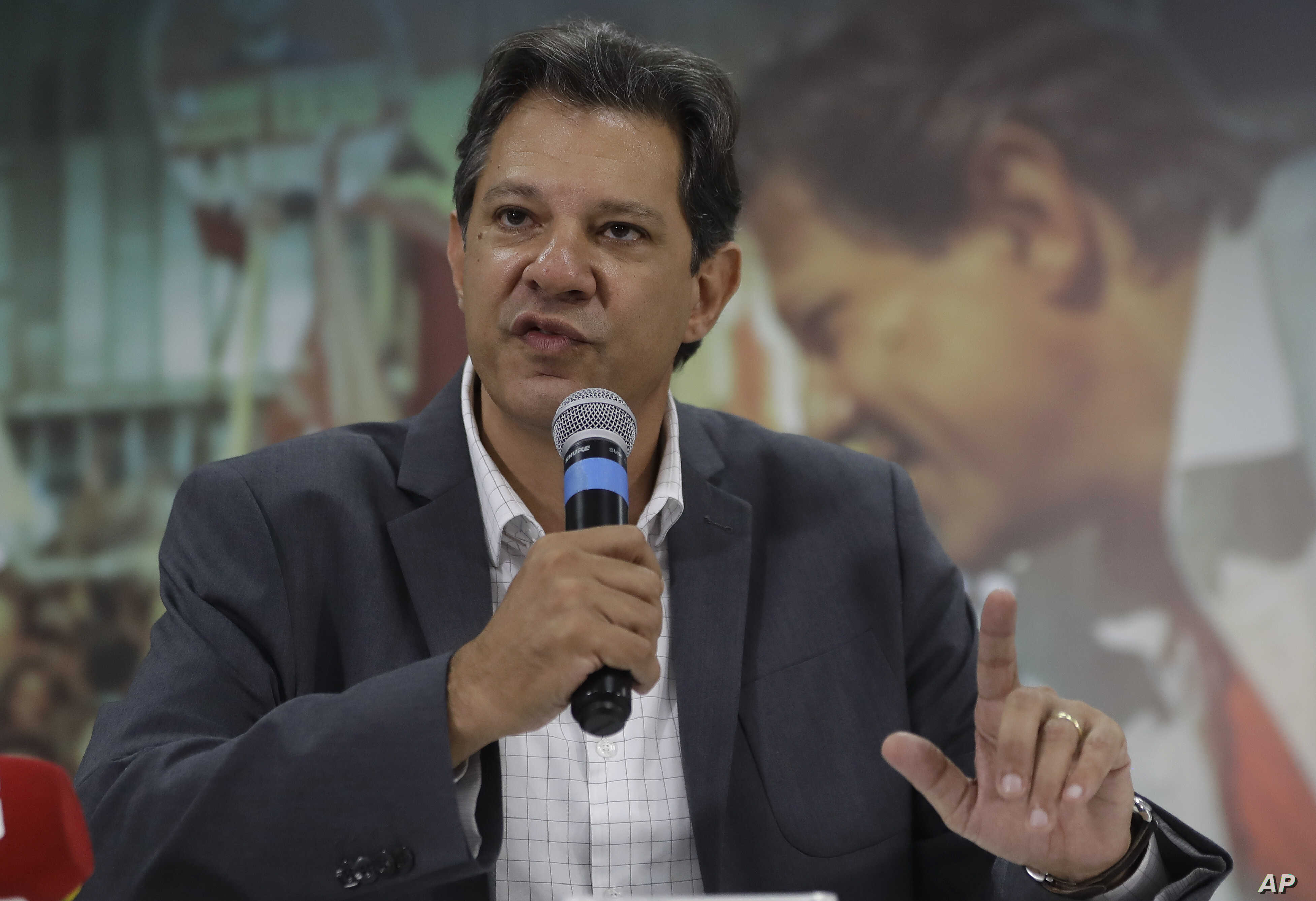 Fernando Haddad, presidential candidate for the Workers' Party, speaks to foreign journalists in Sao Paulo, Brazil, Oct. 18, 2018. Haddad will face Jair Bolsonaro in a presidential runoff on Oct. 28.