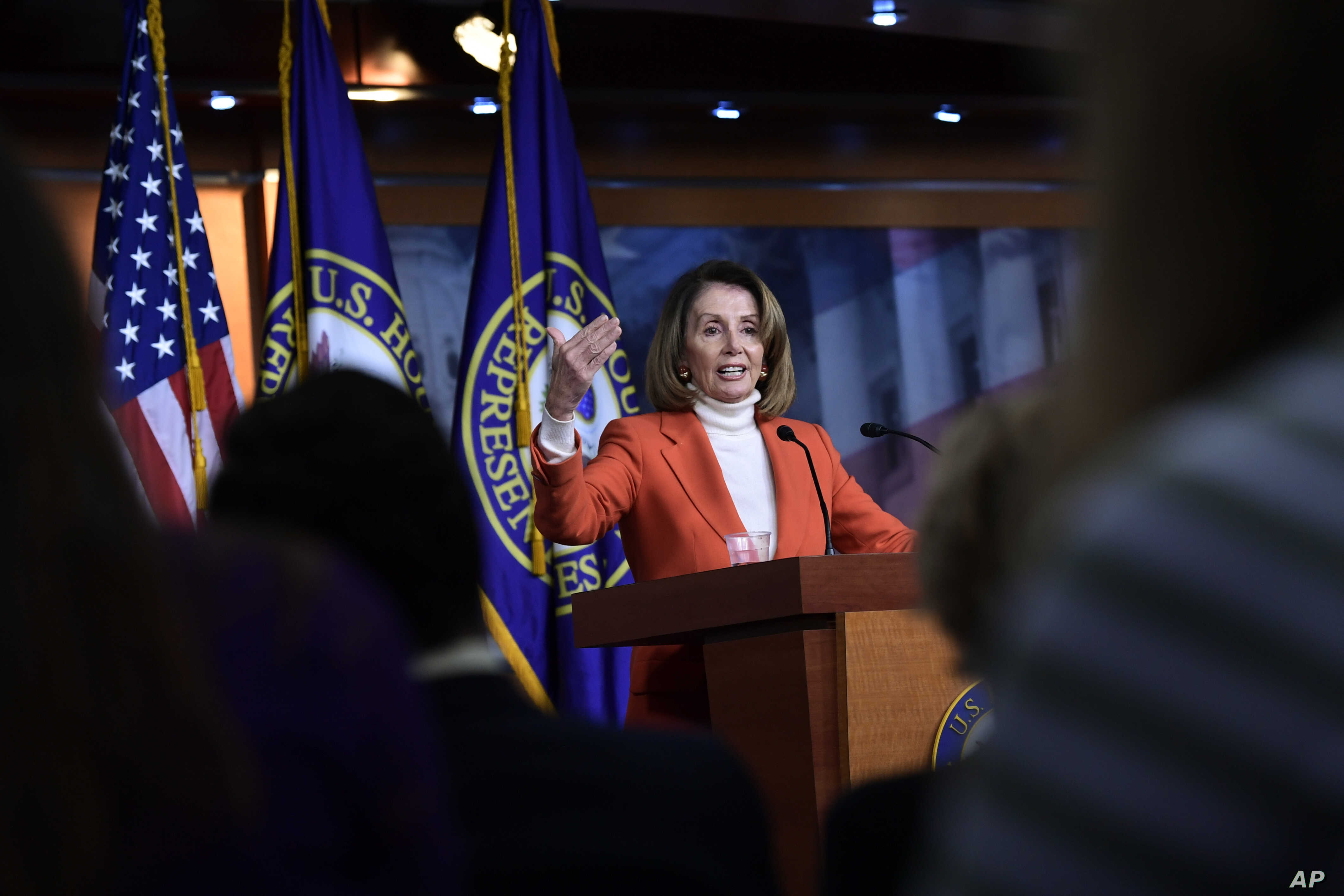 House Minority Leader Nancy Pelosi of Calif., speaks during a news conference on Capitol Hill in Washington, Nov. 15, 2018.