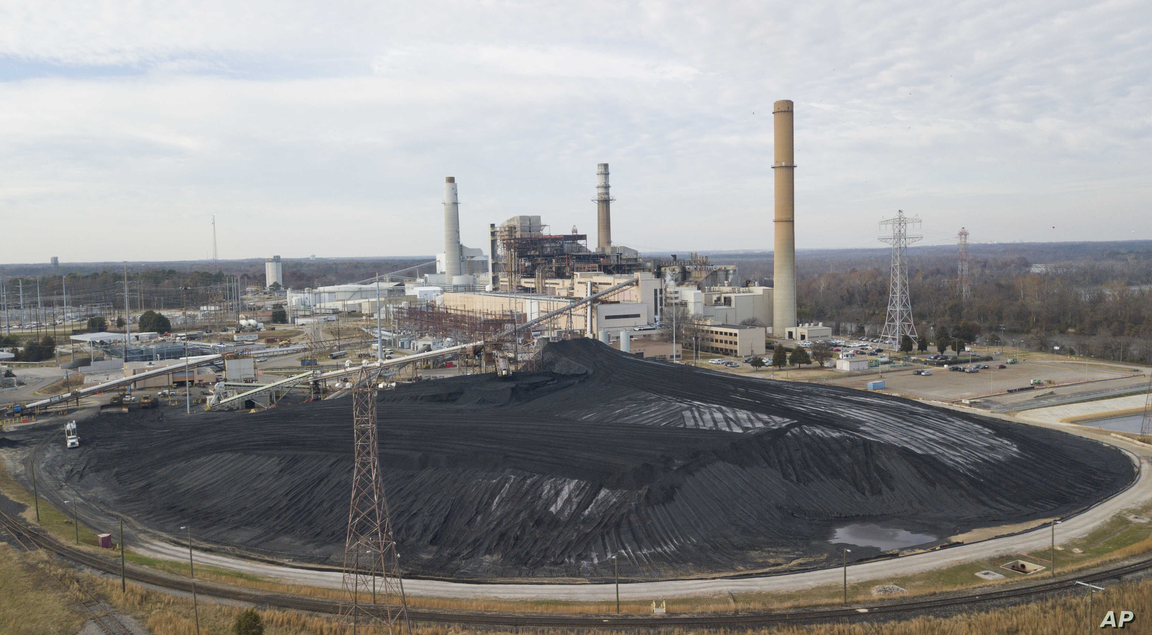 A large field of coal is stored on the property of Dominon Energy's Chesterfield Power station in Chester, Virginia,  Dec. 4, 2017.