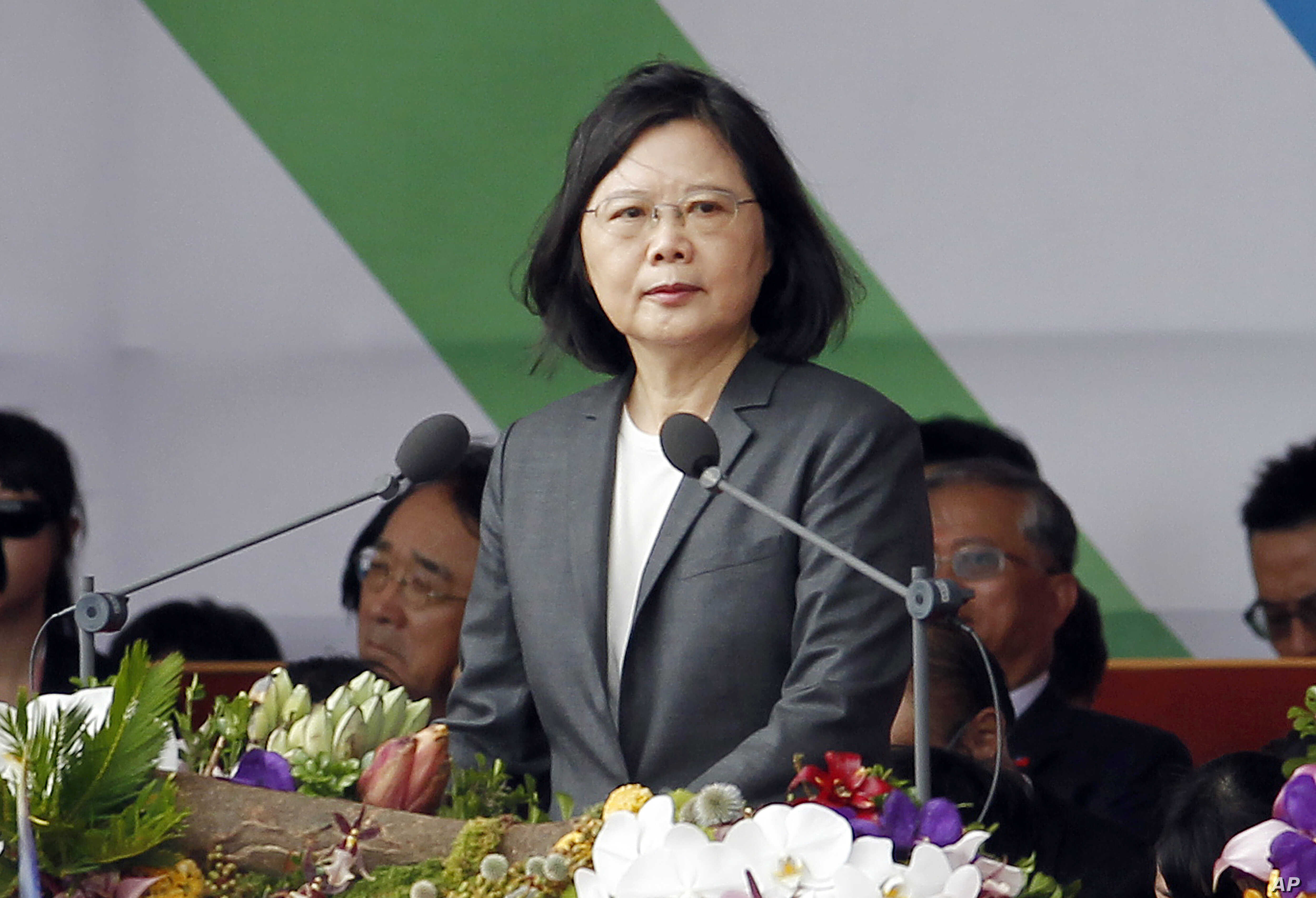 Taiwan's President Tsai Ing-wen delivers a speech during the National Day celebrations in front of the Presidential Building in Taipei, Taiwan, Tuesday, Oct. 10, 2017.