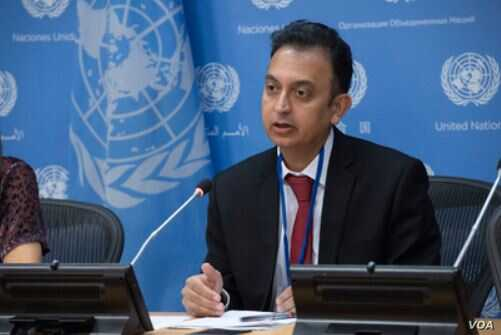 Javaid Rehman, U.N. special rapporteur on human rights in Iran, briefs journalists at U.N. headquarters in New York, Oct. 24, 2018. (E. Schneider/U.N. photo)