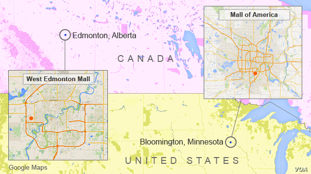 Map showing locations of West Edmonton Mall in Edmonton, Alberta, and Mall of America in Bloomington, Minnesota