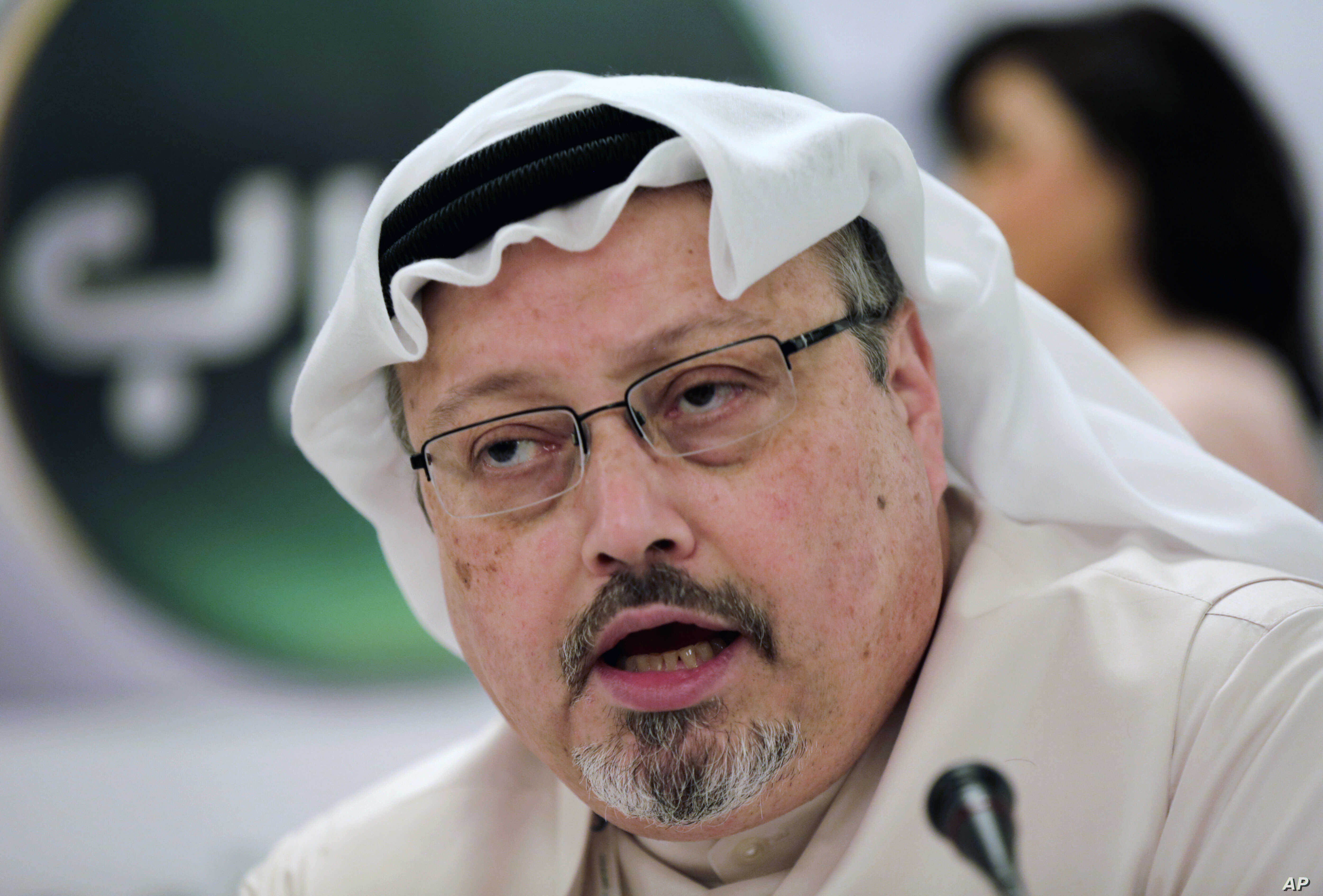FILE - Saudi journalist Jamal Khashoggi speaks during a press conference in Manama, Bahrain, Feb. 1, 2015. A pro-government Turkish newspaper  Wednesday published a gruesome recounting of the alleged slaying of Khashoggi at the Saudi Consulate in Ist