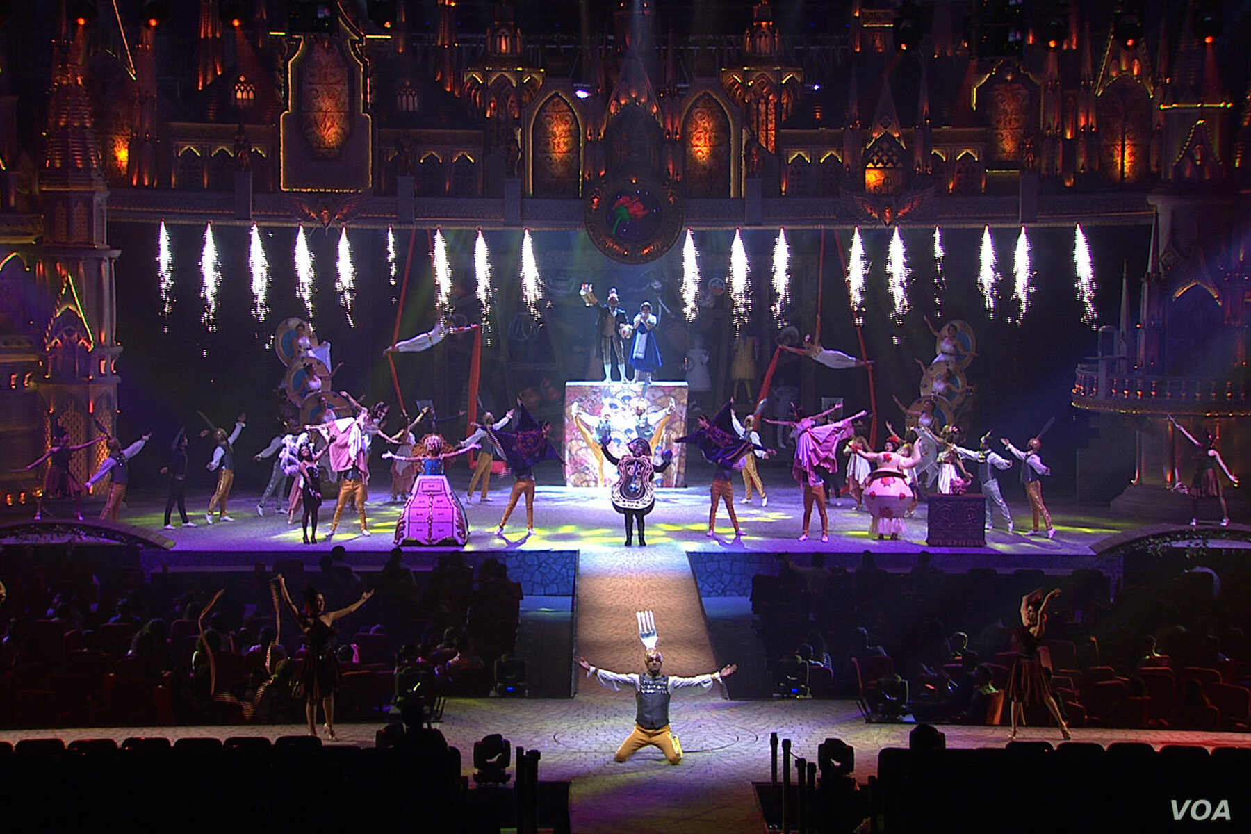 """Disney's """"The Beauty and the Beast"""" Broadway show on stage in India."""