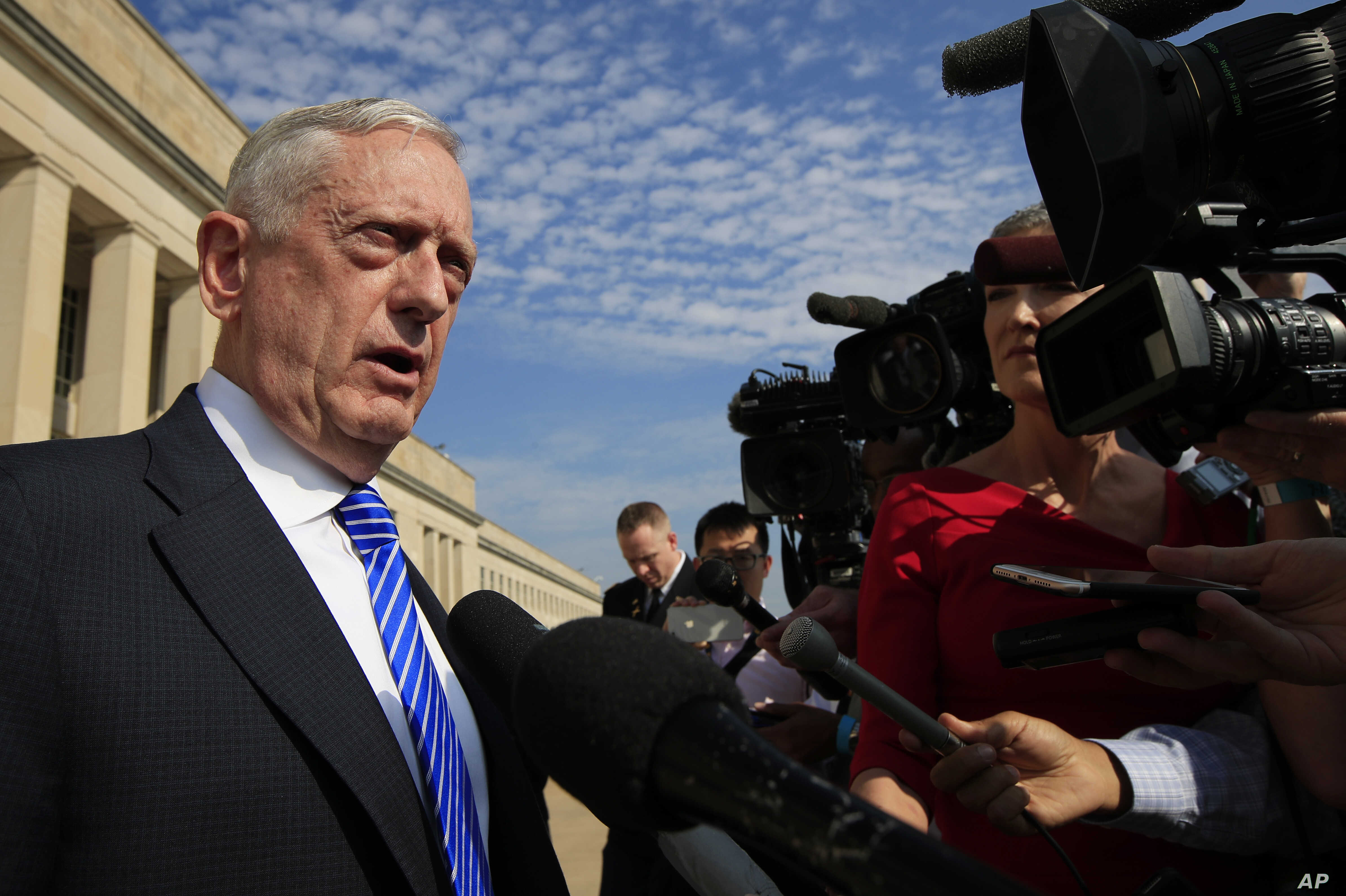 Secretary of Defense Jim Mattis, speaks to reporters at the Pentagon, July 27, 2018.